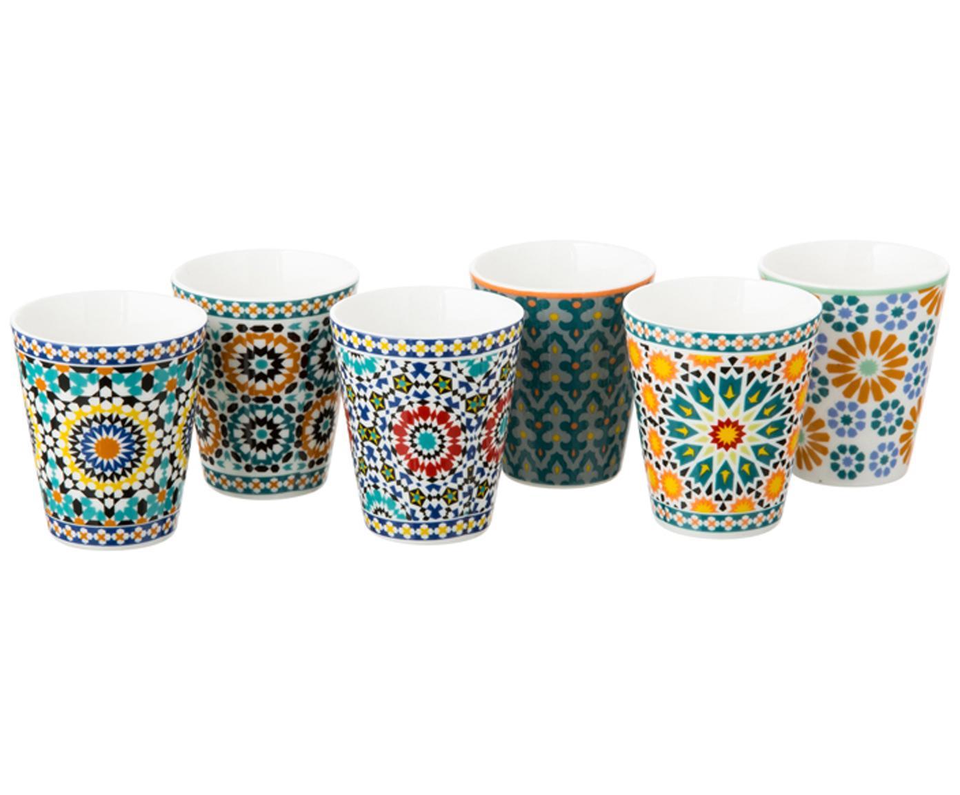 Set de tazas de café Bisanzio, 6pzas., Porcelana New Bone, Interior: marfil Exterior: multicolor, Ø 6 x Al 6 cm