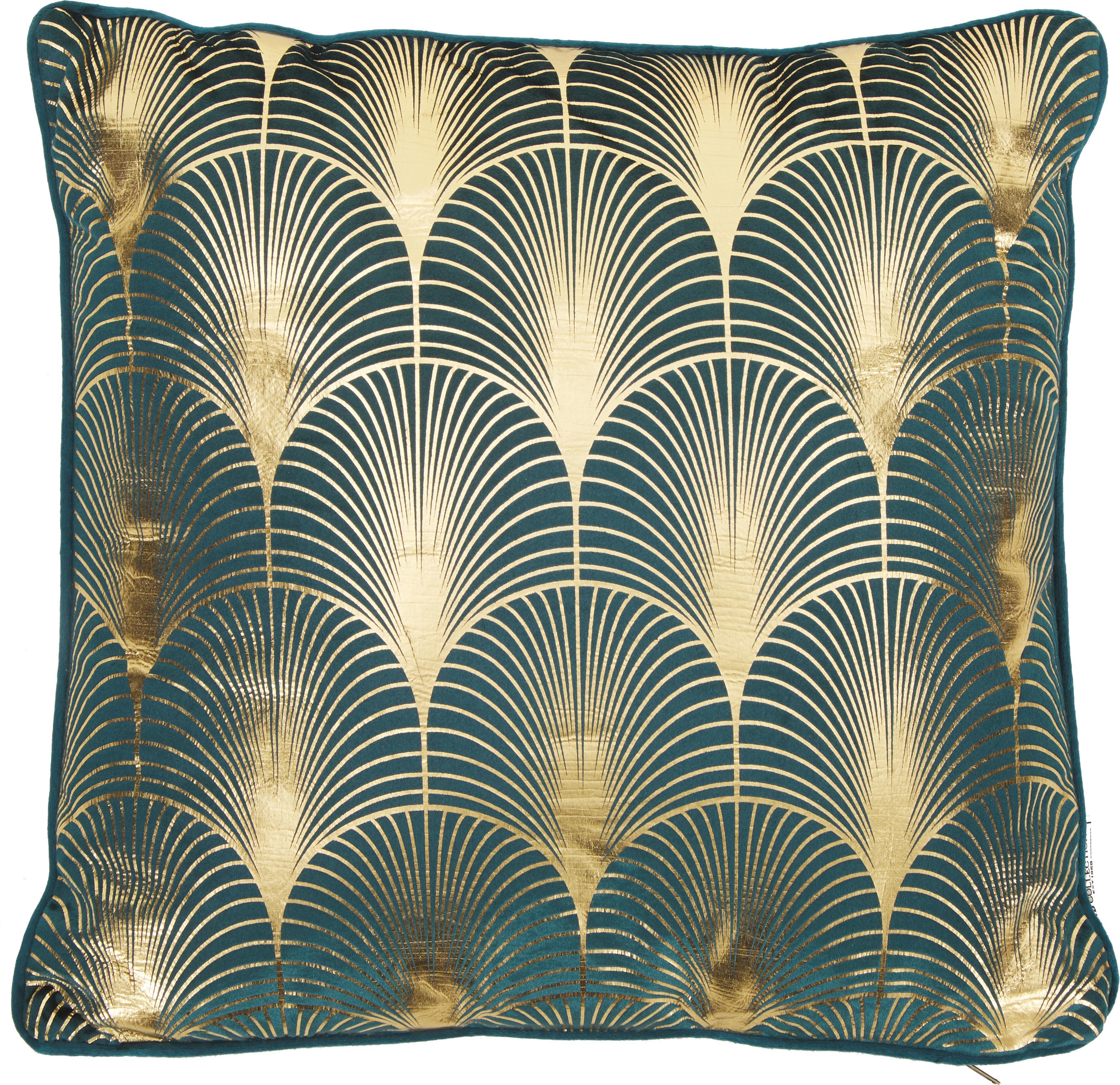 Cuscino in velluto con imbottitura Whety, 100% velluto, stampato, Petrolio, dorato, Larg. 45 x Lung. 45 cm