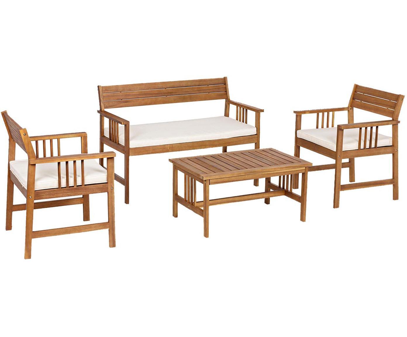 Set lounge de exterior Noemi, 4pzas., Estructura: madera de acacia con acab, Marrón, beige, Tamaños diferentes