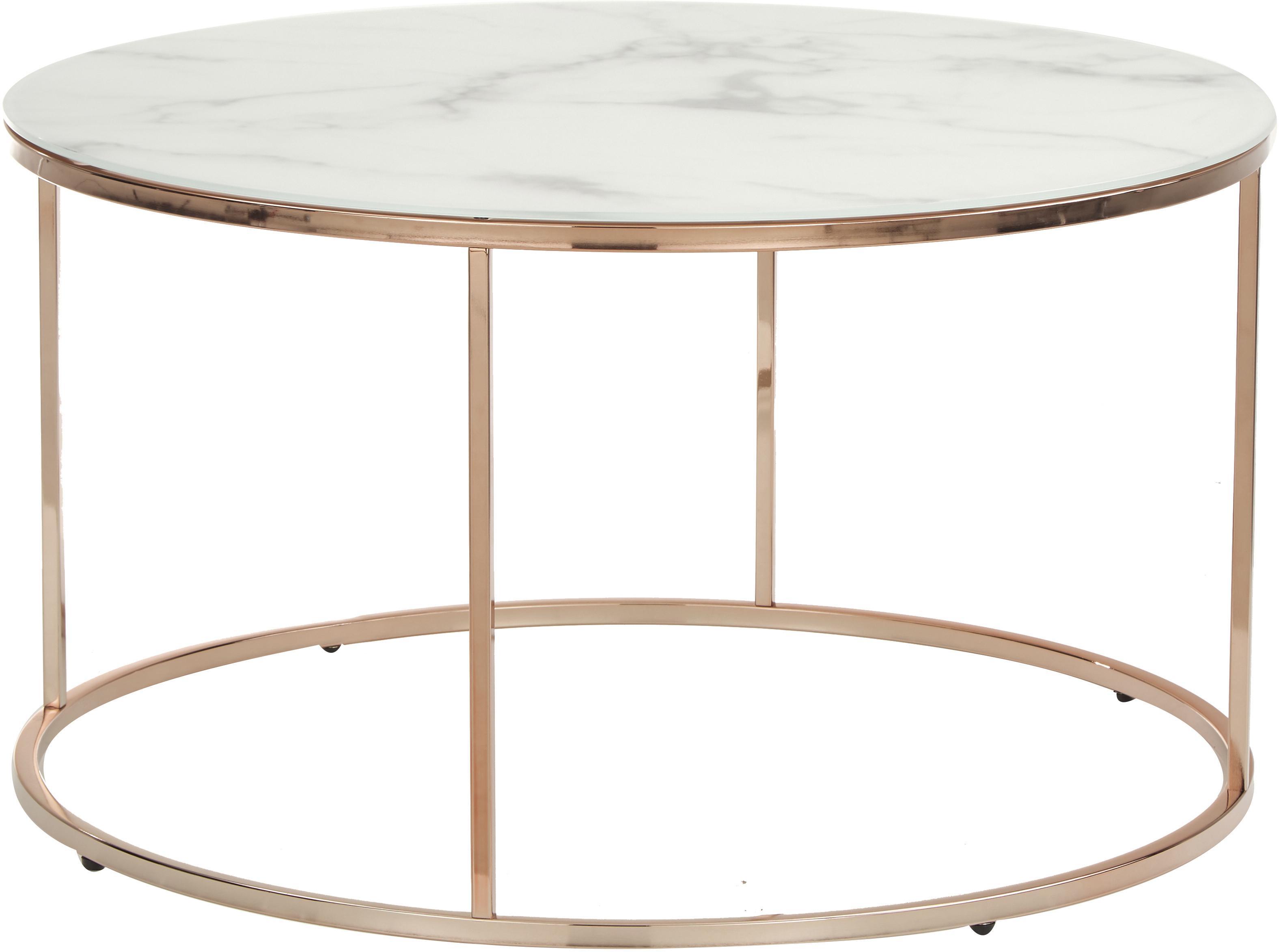 Tavolino da salotto con piano in vetro Antigua, Piano d'appoggio: vetro opaco stampato, Struttura: acciaio, ottonato, Bianco-grigio marmorizzato, rosa dorato, Ø 80 x Alt. 45 cm