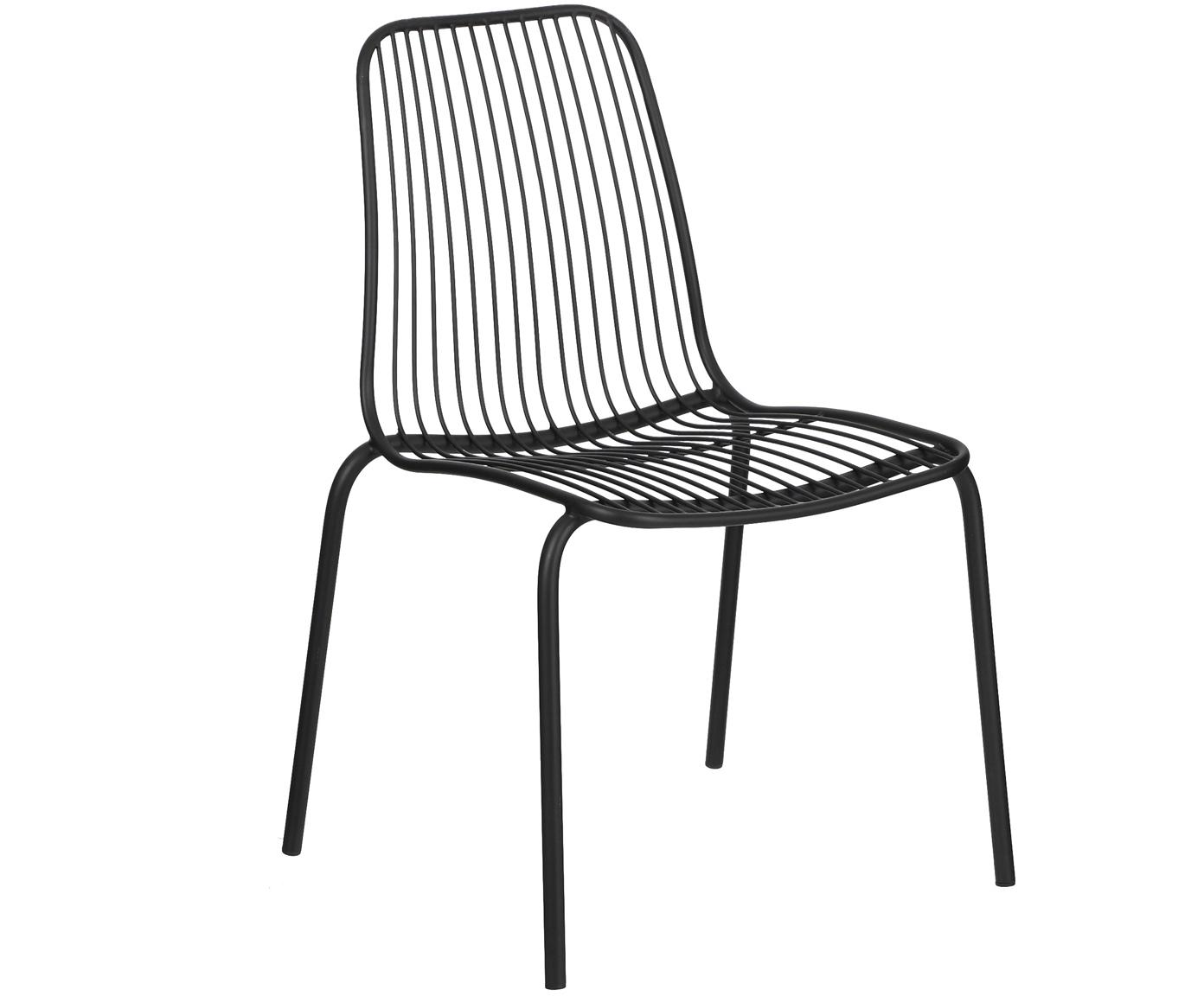 Krzesło ogrodowe z metalu Tirana, 2 szt., Metal malowany proszkowo, Czarny, S 56 x G 54 cm