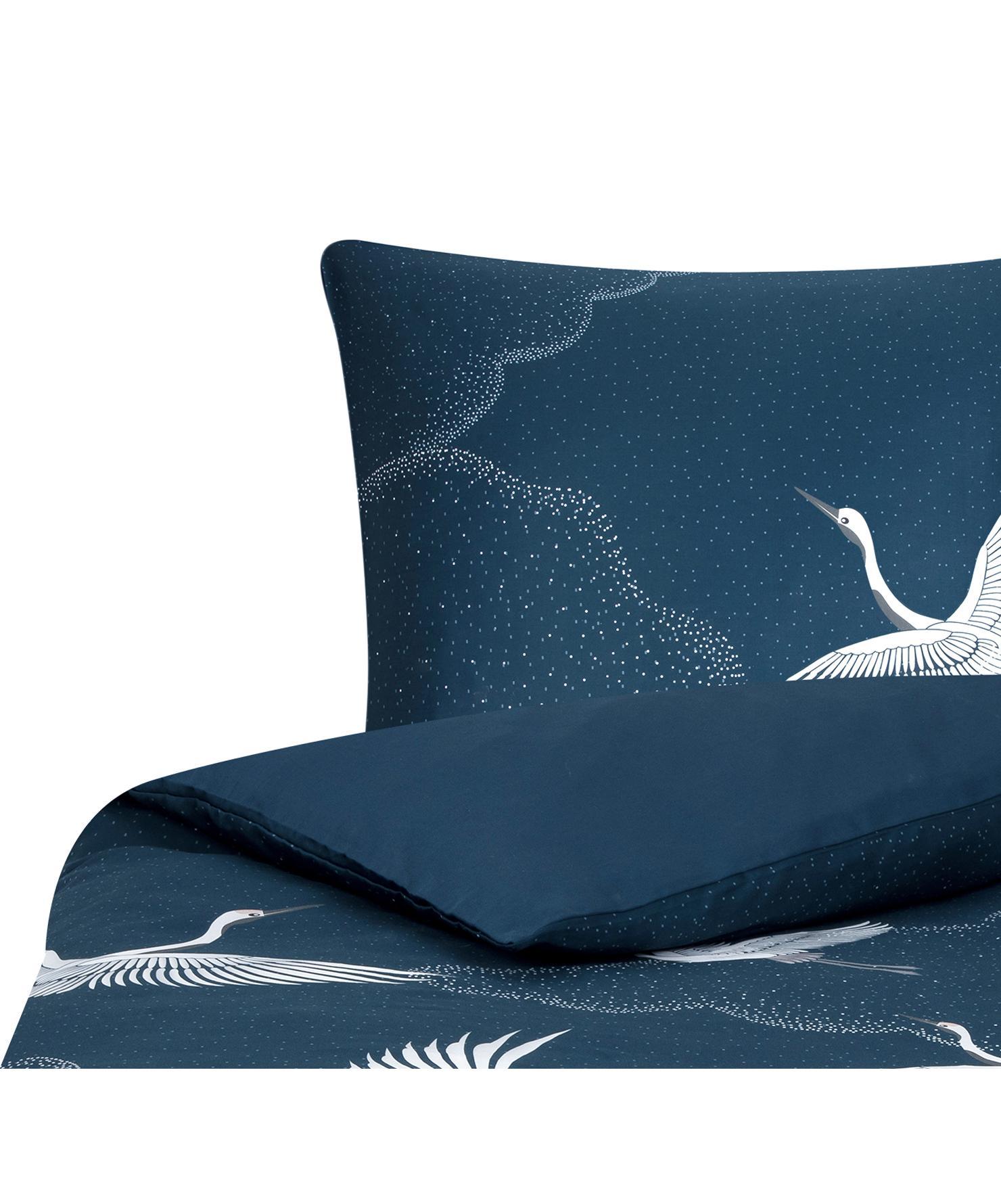 Pościel z satyny bawełnianej Yuma, Niebieski, biały, szary, 135 x 200 cm