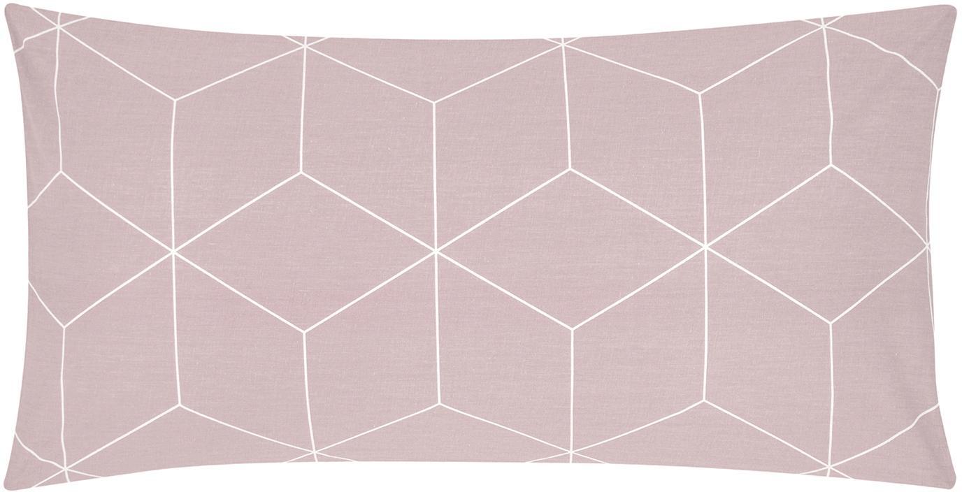 Funda de almohada de tejido renforcé Lynn, Rosa palo, blanco crema, An 45 x L 85 cm
