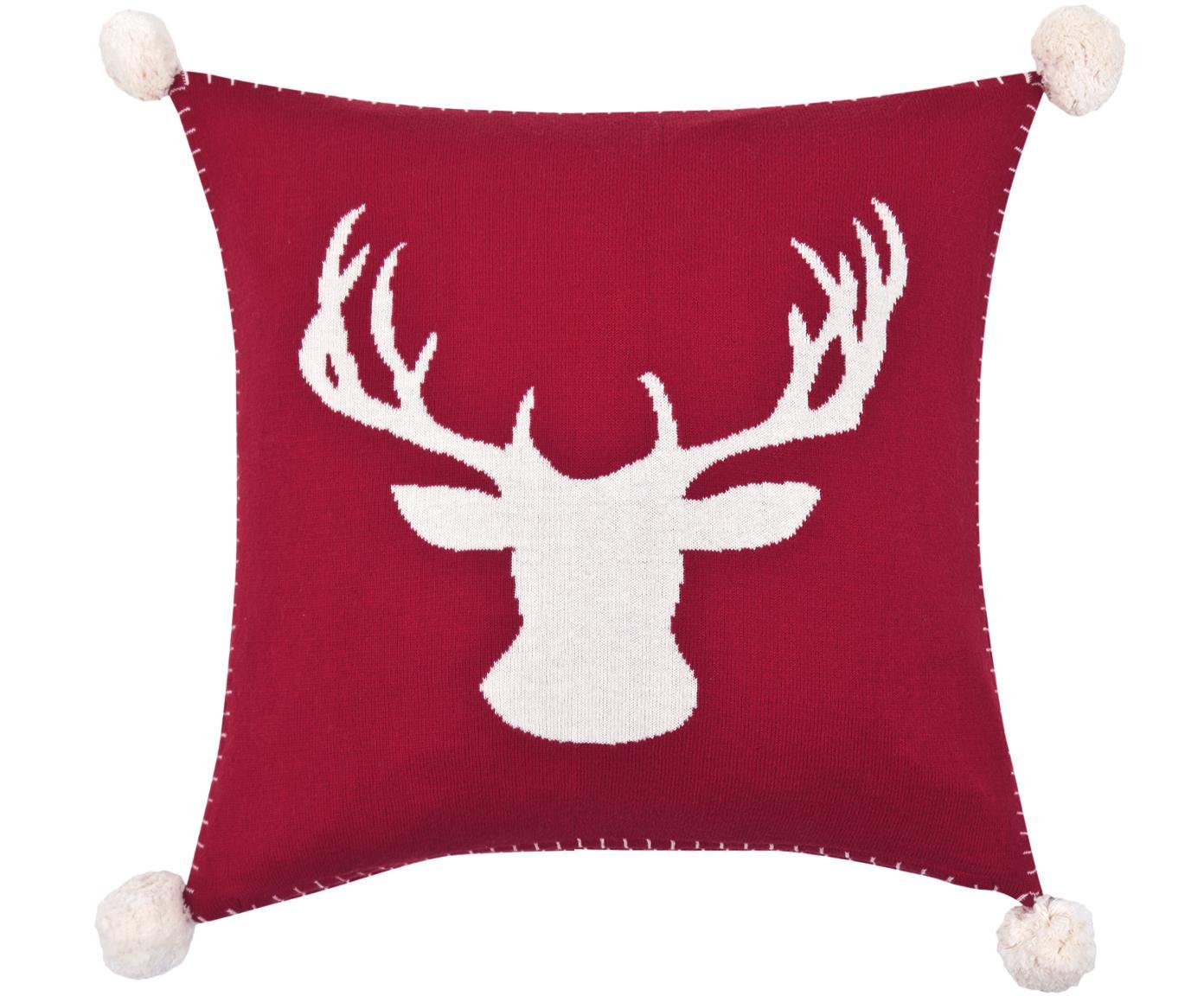 Strick-Kissenhülle Anders mit Hirschmotiv und Bommeln, Baumwolle, Rot, Cremeweiß, 40 x 40 cm