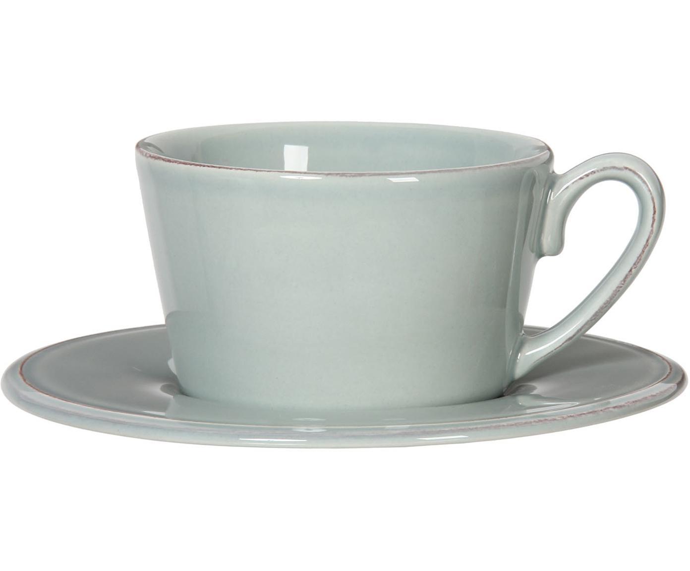 Taza de té con platito Constance, Gres, Verde menta, Ø 19 x Al 8 cm