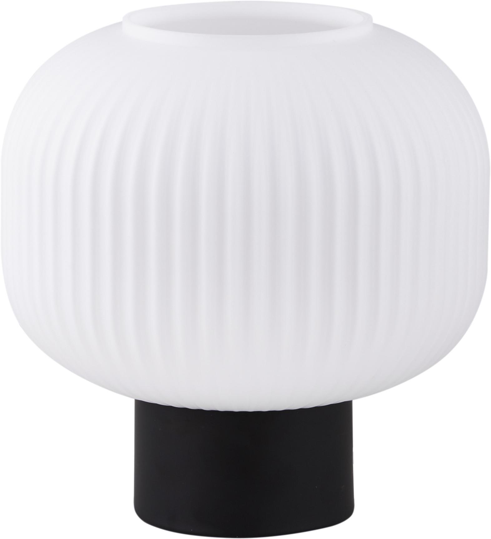 Tischlampe Charlie aus Opalglas, Lampenschirm: Opalglas, Lampenfuß: Metall, beschichtet, Schwarz, Opalweiß, Ø 20 x H 20 cm