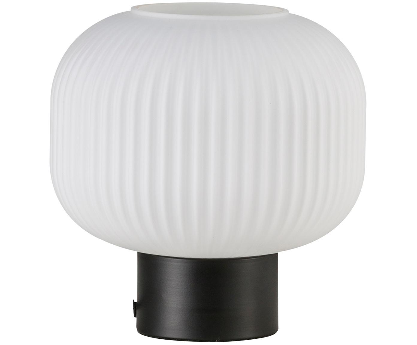 Tischleuchte Charlie, Lampenschirm: Opalglas, Lampenfuß: Metall, beschichtet, Schwarz, Opalweiß, Ø 20 x H 20 cm