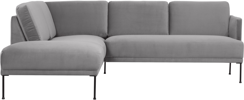 Sofa narożna z aksamitu Fluente, Tapicerka: aksamit (wysokiej jakości, Stelaż: lite drewno sosnowe, Nogi: metal malowany proszkowo, Aksamitny jasny szary, S 221 x G 200 cm