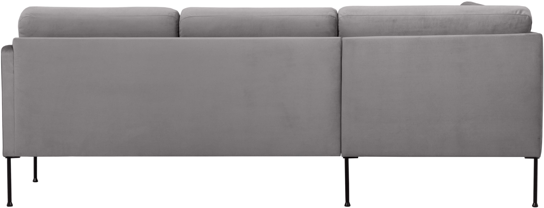 Canapé d'angle velours gris clair Fluente, Velours gris clair