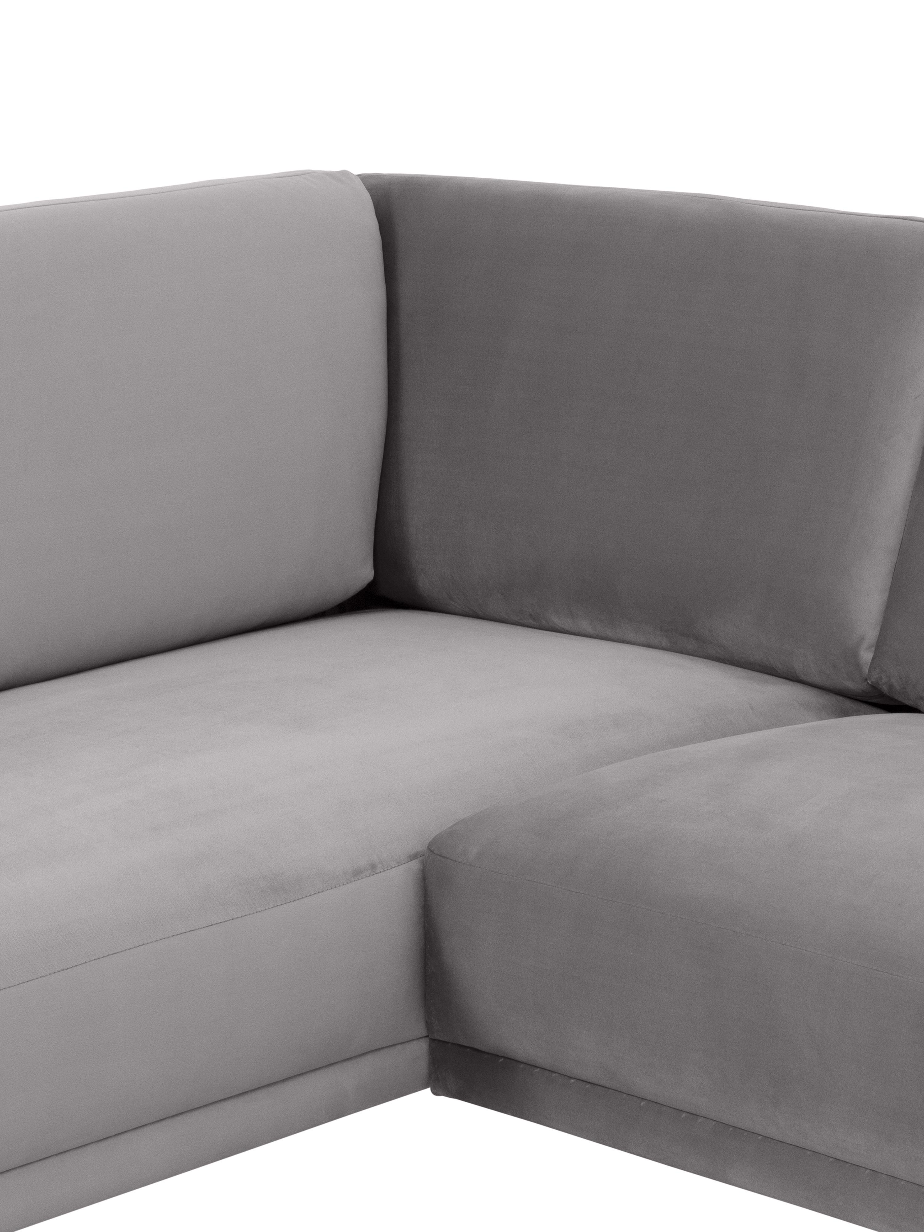 Divano angolare in velluto grigio chiaro Fluente, Rivestimento: velluto (rivestimento in , Struttura: legno di pino massiccio, Piedini: metallo verniciato a polv, Velluto grigio chiaro, Larg. 221 x Prof. 200 cm