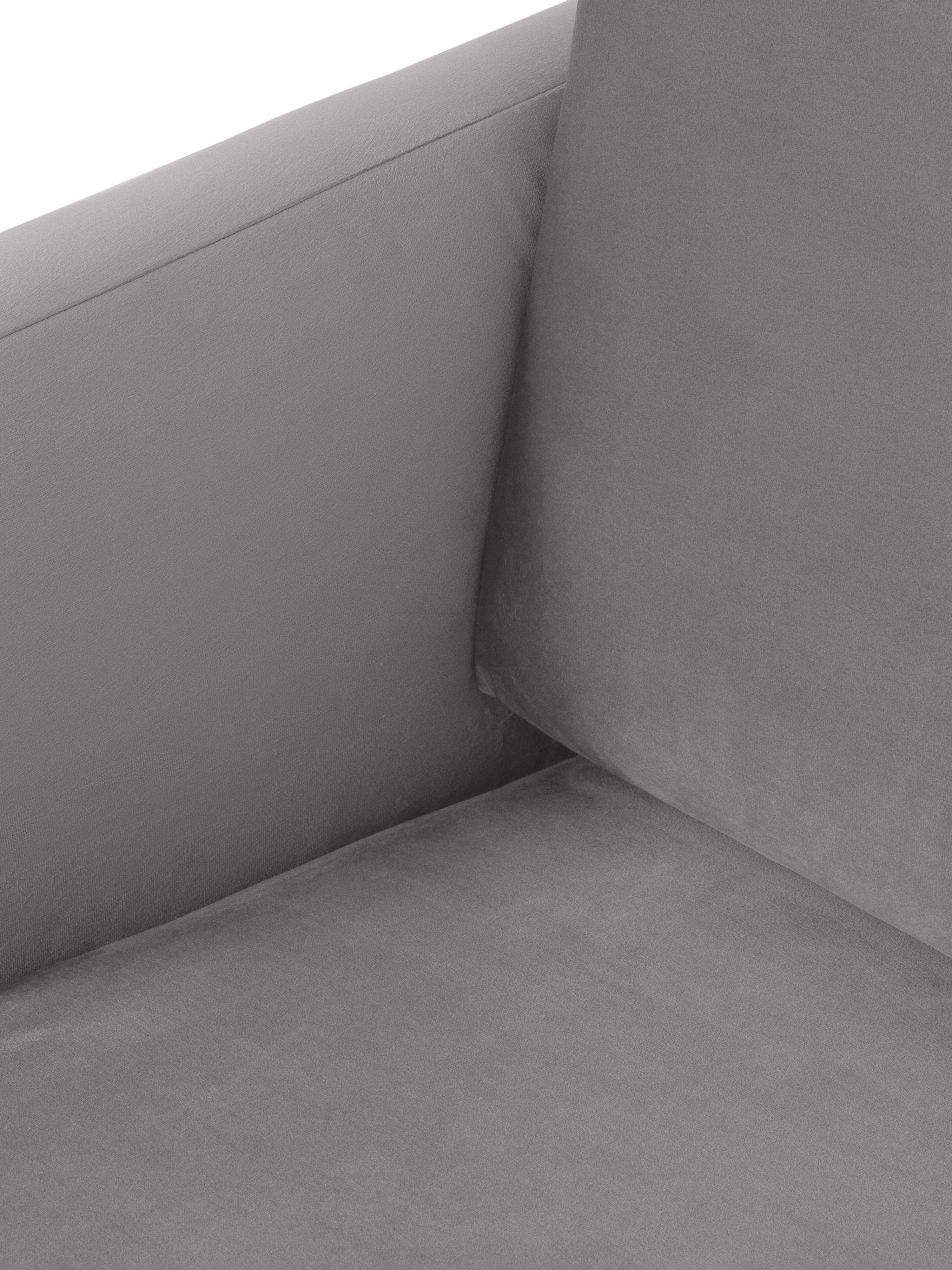 Samt-Ecksofa Fluente, Bezug: Samt (Hochwertiger Polyes, Gestell: Massives Kiefernholz, Füße: Metall, pulverbeschichtet, Samt Hellgrau, B 221 x T 200 cm