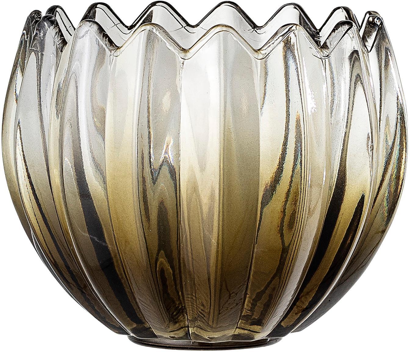 Windlicht Viva, Glas, Groen, transparant, Ø 13 x H 11 cm