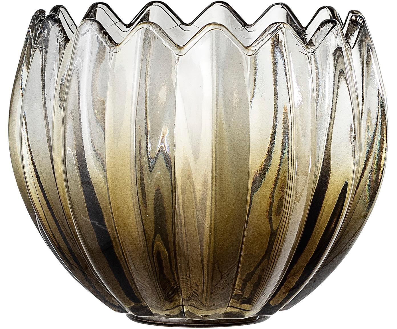 Windlicht Viva, Glas, Grün, transparent, Ø 13 x H 11 cm