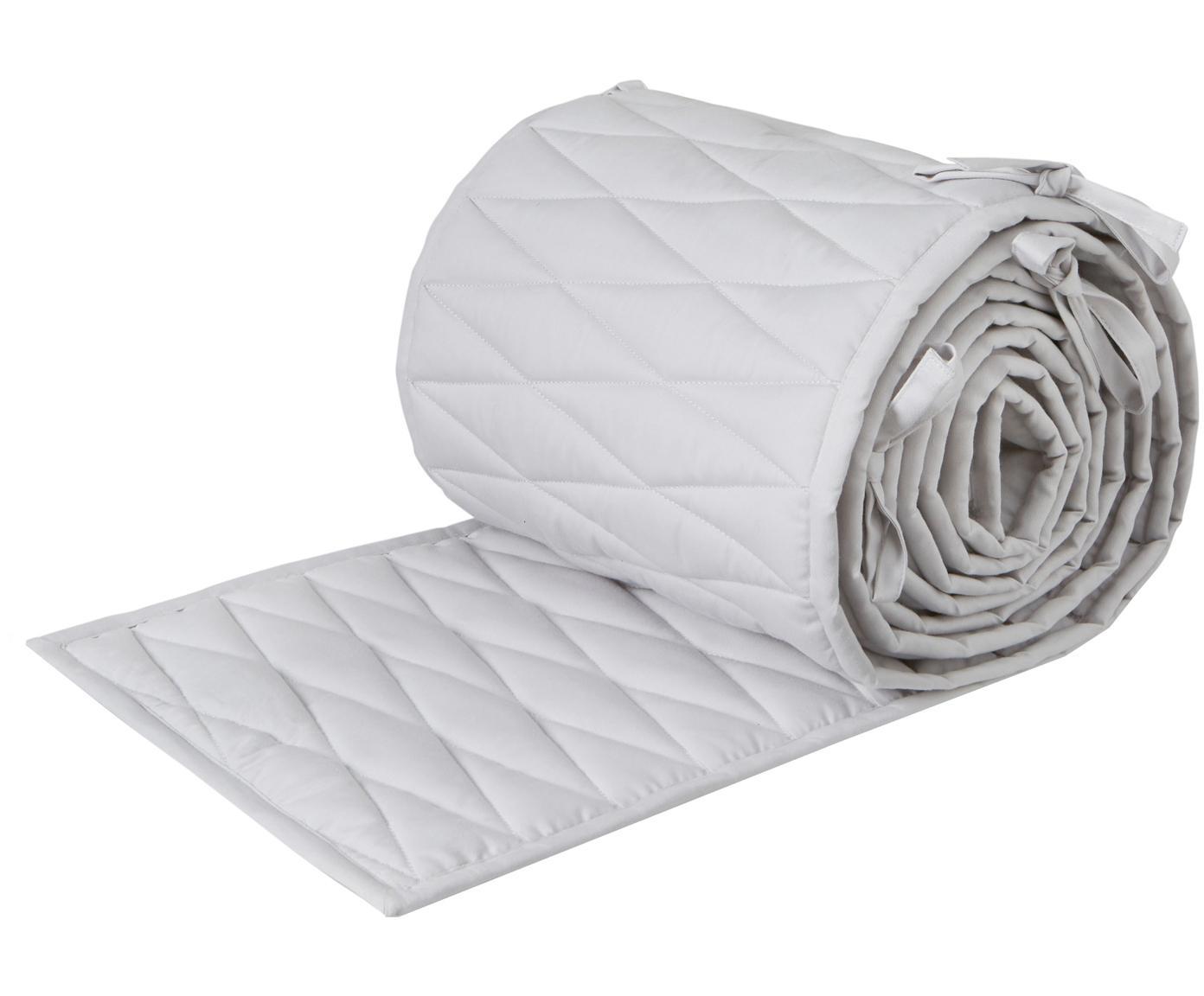 Paracolpi per culla in cotone organico Safe, Rivestimento: cotone organico, Grigio chiaro, Larg. 30 x Lung. 365 cm