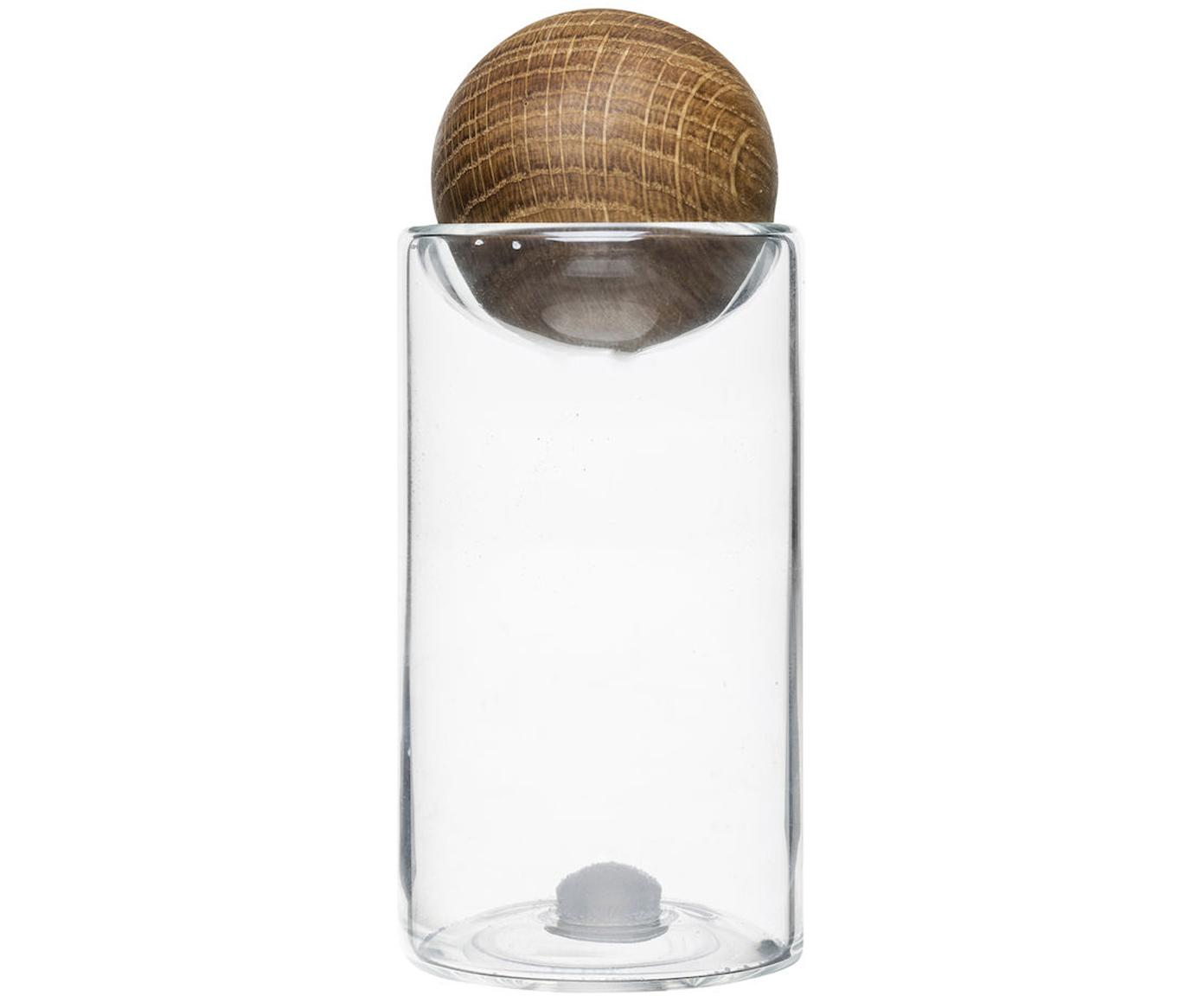 Solniczka i pieprzniczka z pokrywką z drewna dębowego Eden, Drewno dębowe, szkło, Transparentny, drewno dębowe, Ø 5 x W 12 cm