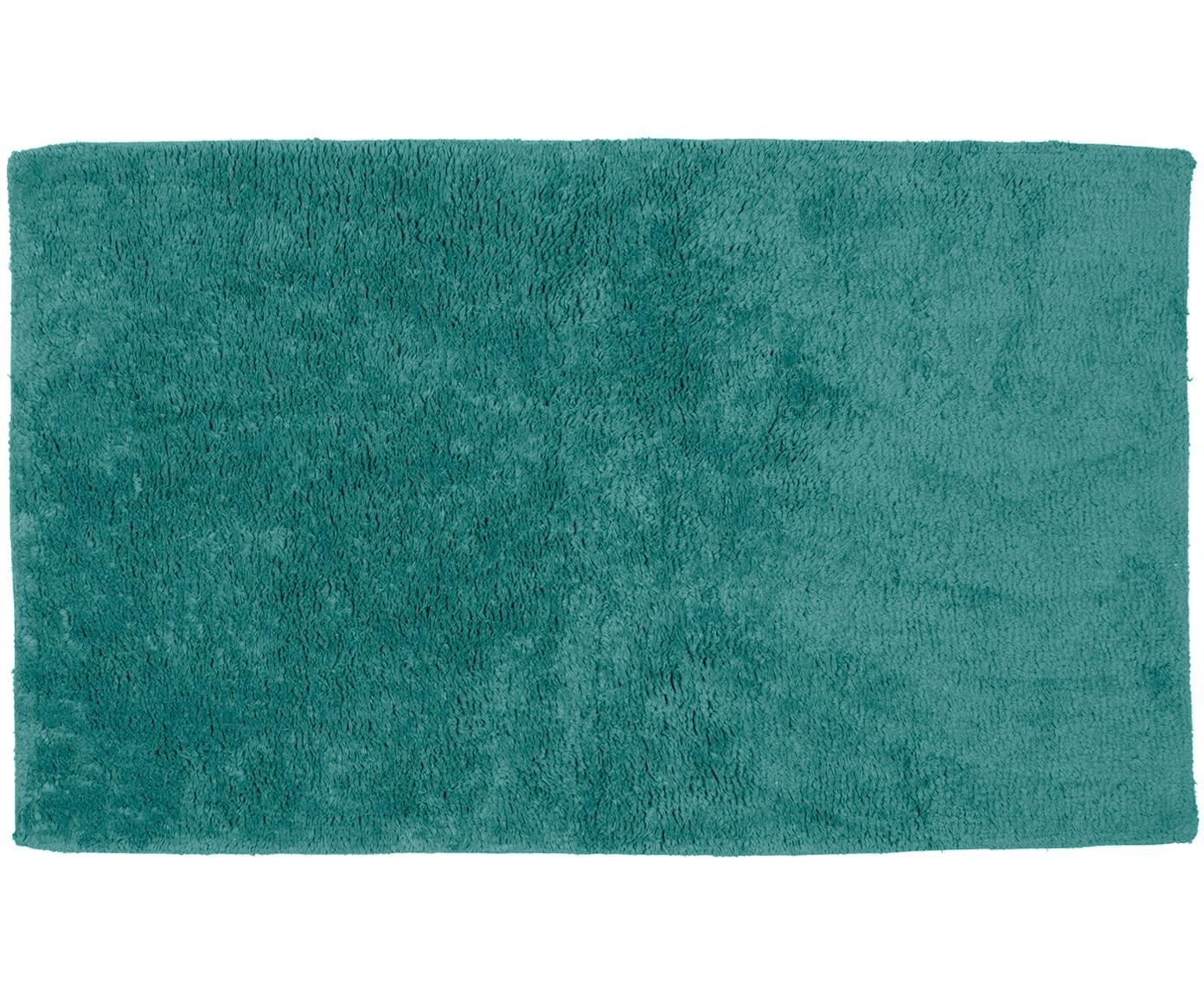 Tappeto bagno in cotone turchese Luna, Verde smeraldo, Larg