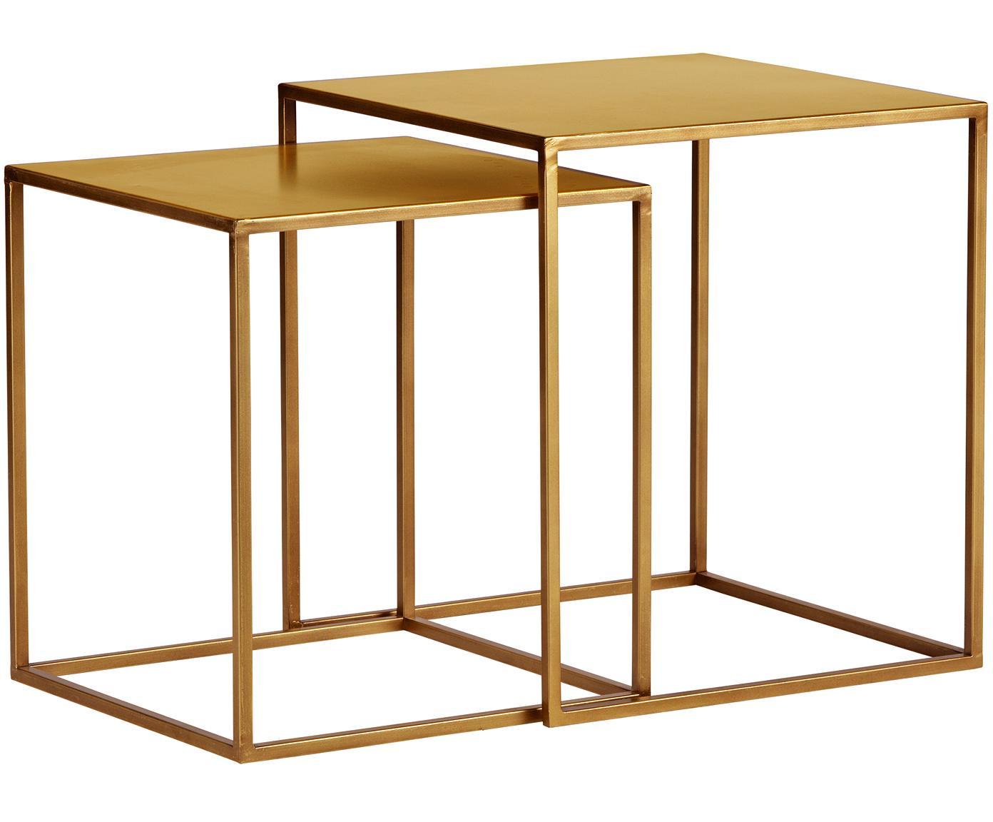 Komplet stolików pomocniczych z metalu Ziva, 2 elem., Metal lakierowany, Mosiądz z antycznym wykończeniem, Różne rozmiary