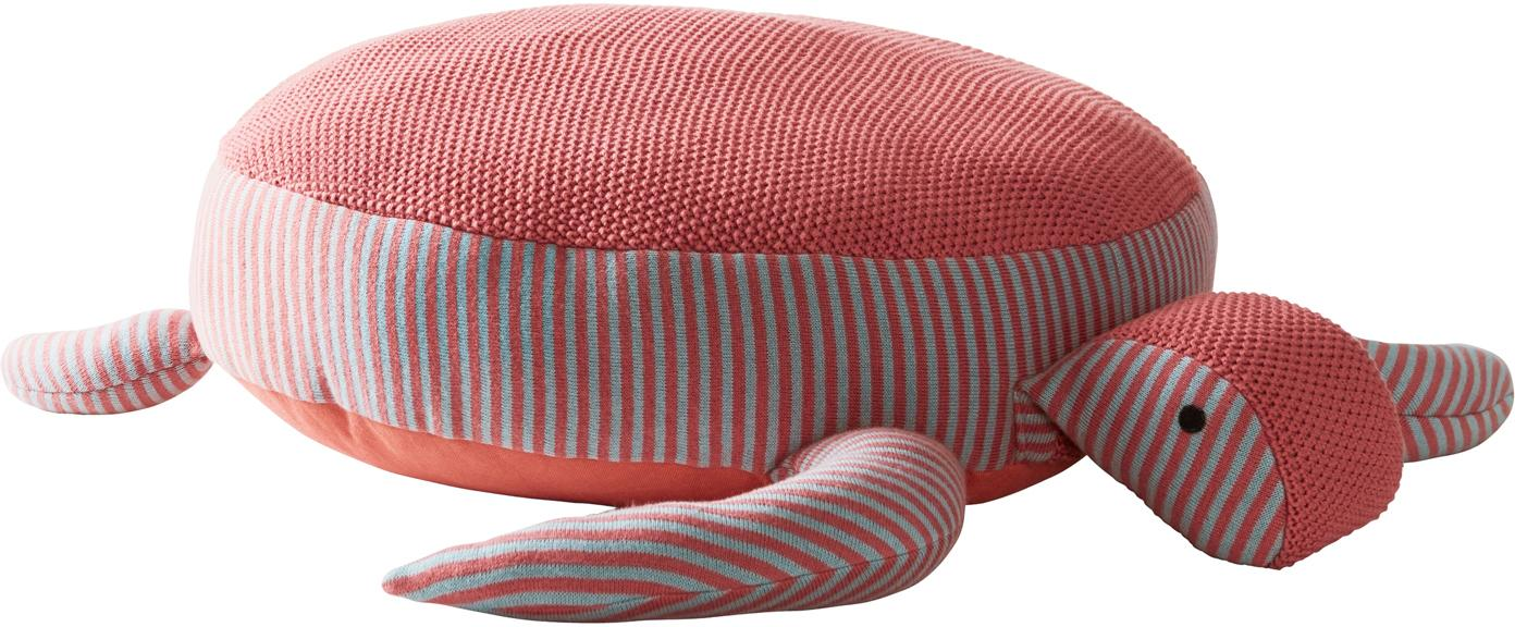 Cuscino da pavimento in cotone bio Zane, Rivestimento: cotone organico, Rosso corallo, grigio, Larg. 60 x Alt. 25 cm