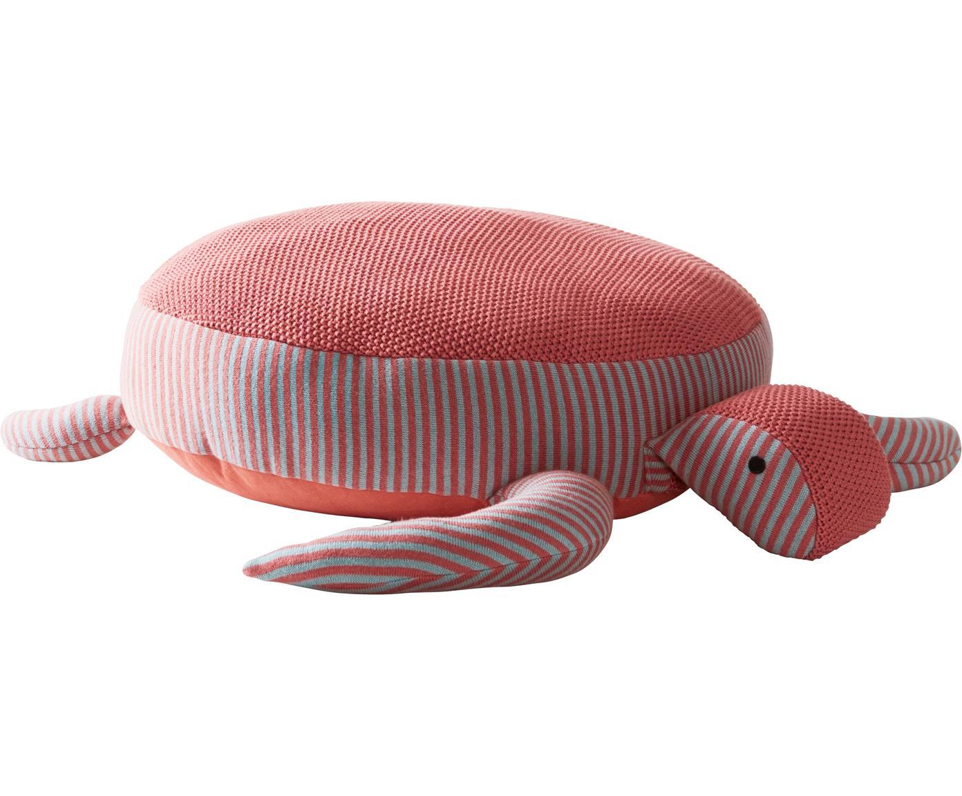 Bodenkissen Zane aus Bio-Baumwolle, Bezug: Bio-Baumwolle, Korallenrot, Grau, 60 x 25 cm