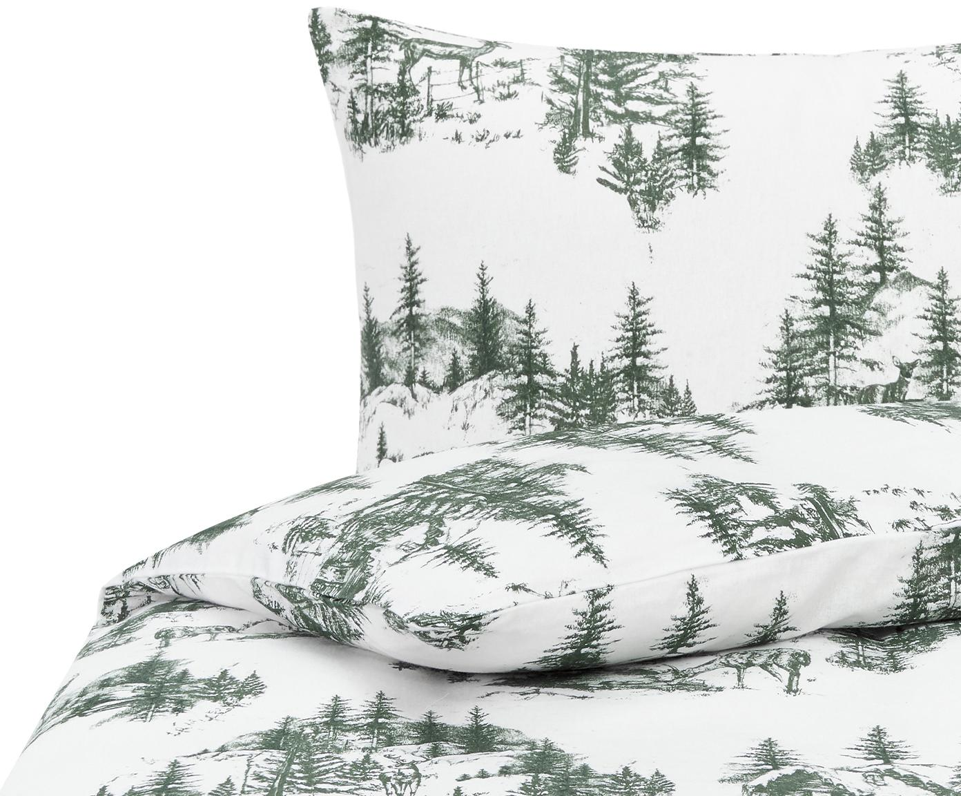 Flanell-Bettwäsche Nordic mit winterlichem Motiv, Webart: Flanell Flanell ist ein s, Grün, Weiss, 135 x 200 cm + 1 Kissen 80 x 80 cm
