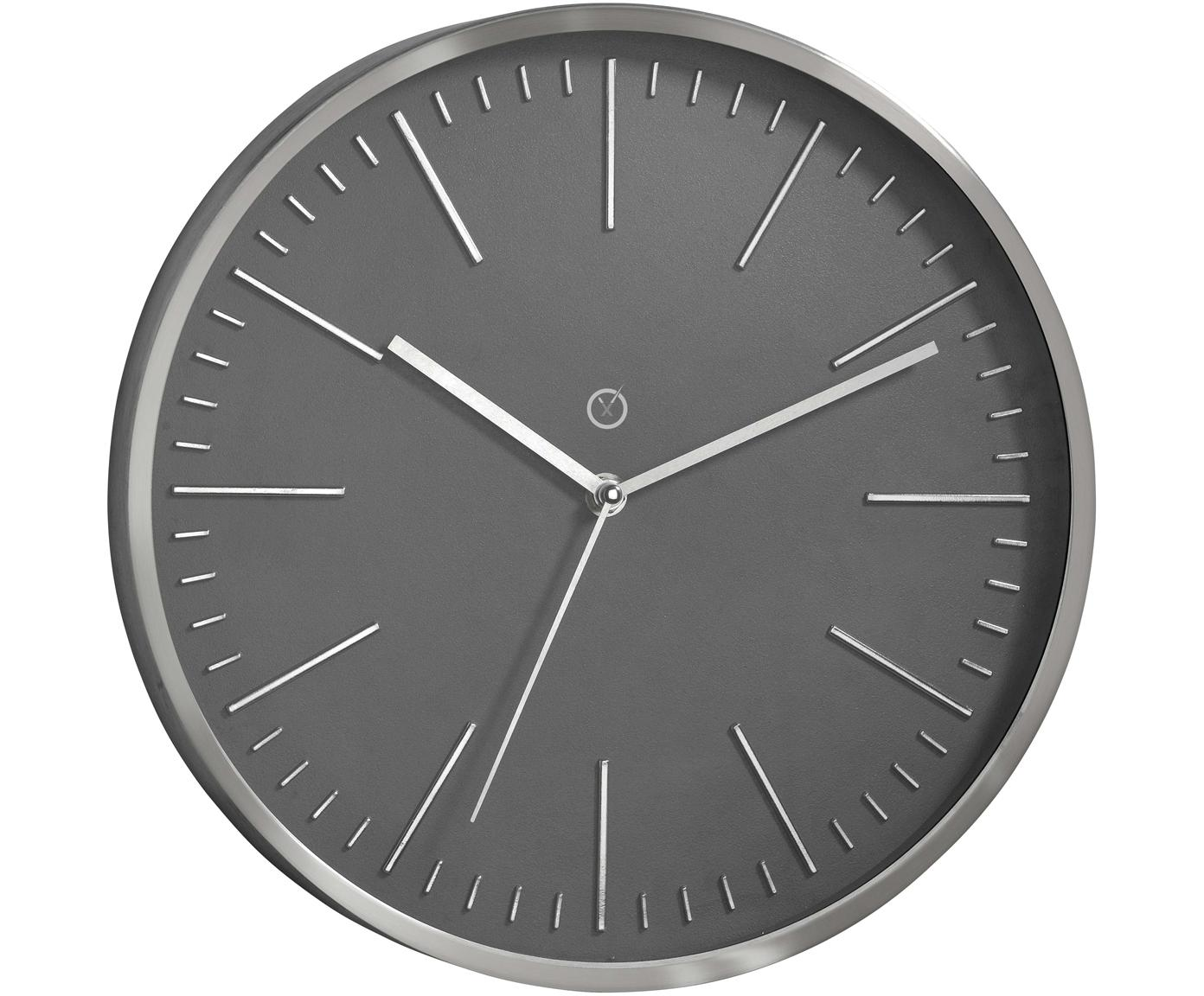 Wanduhr Dakota, Rahmen: Aluminium, Grau, Silberfarben, Ø 30 cm