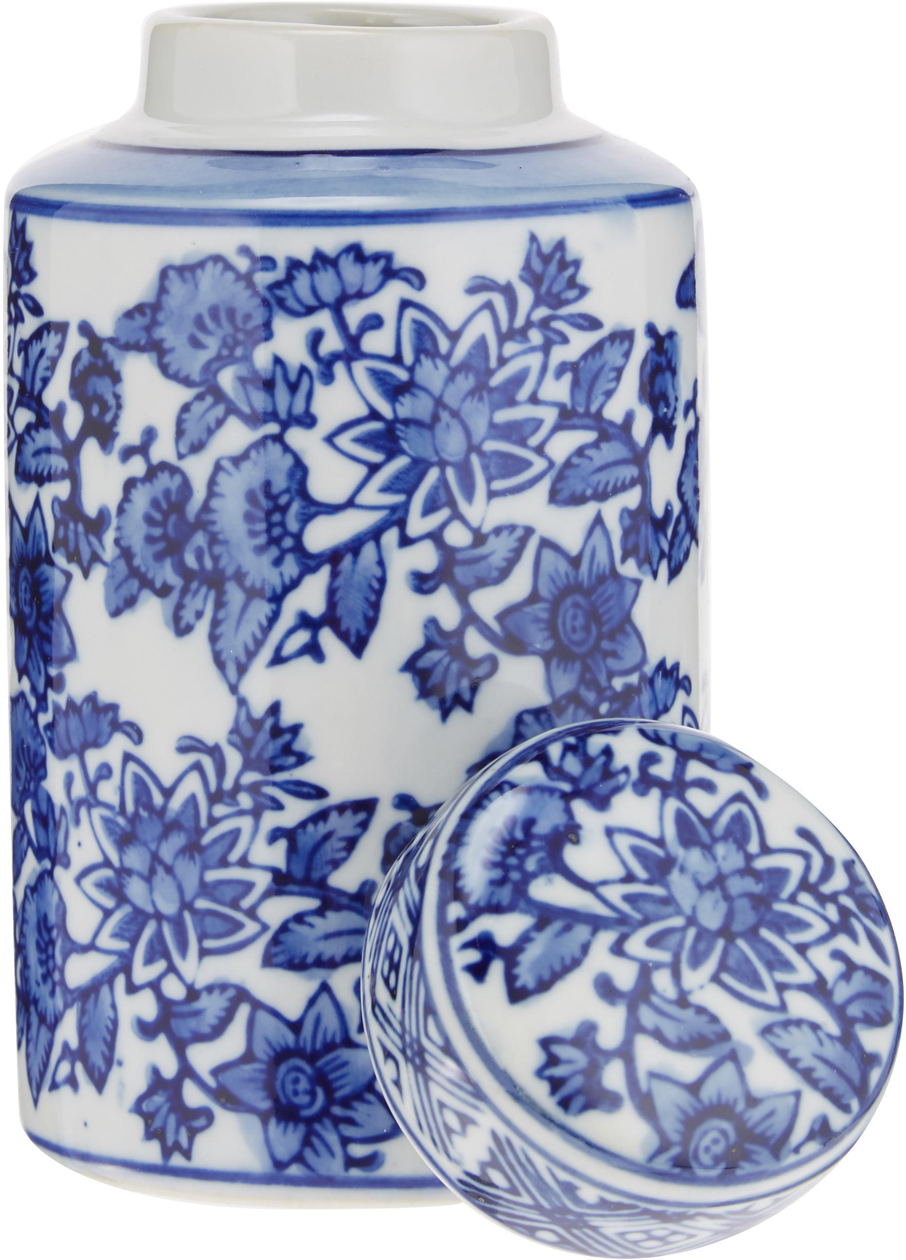 Kleine vaas met deksel Annabelle van porselein, Porselein, Blauw, wit, Ø 8 x H 14 cm