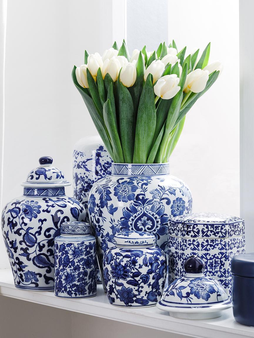 Tibor de porcelana Annabelle, Porcelana, Azul, blanco, Ø 8 x Al 14 cm