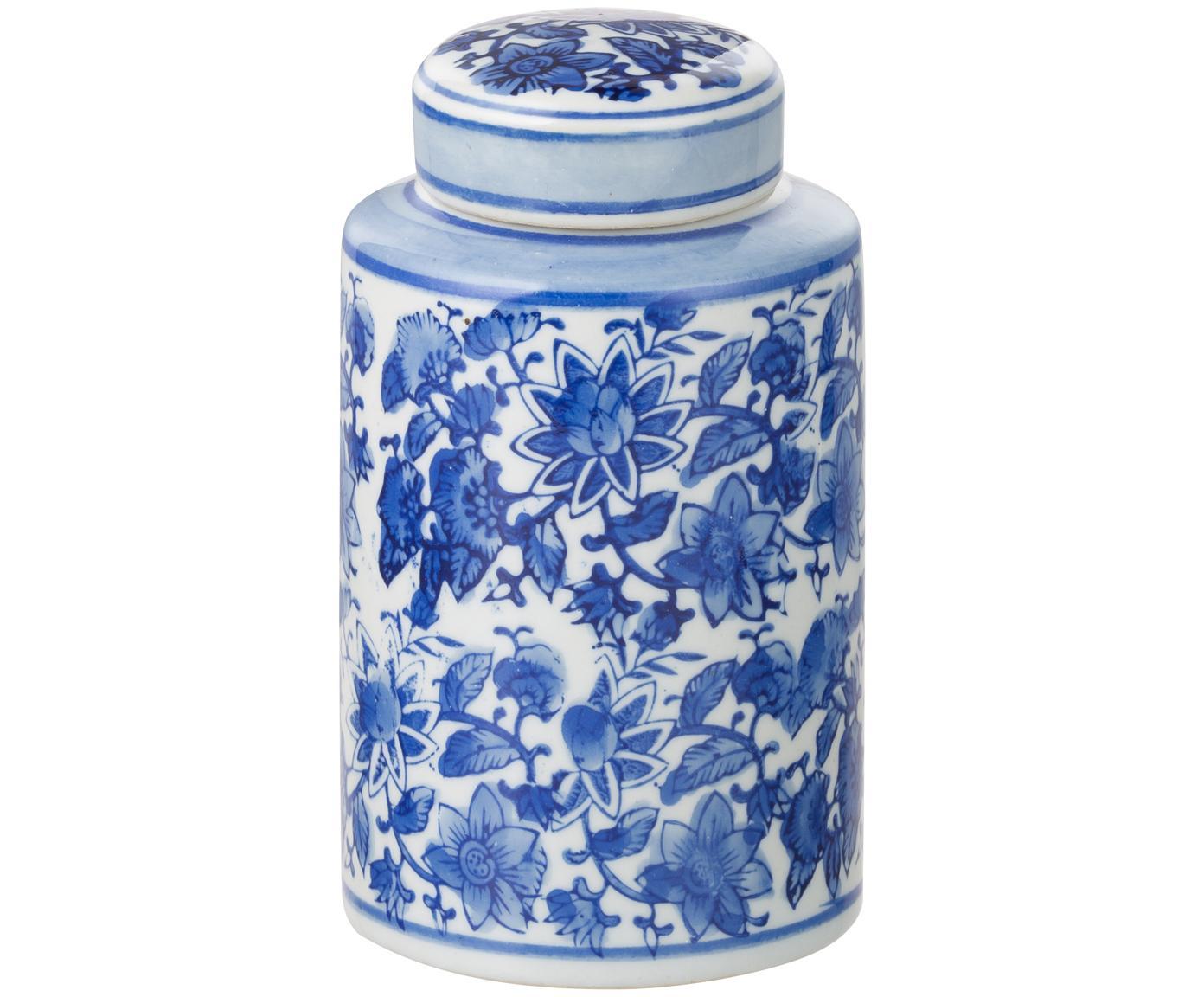 Kleine Deckelvase Annabelle aus Porzellan, Porzellan, Blau,Weiss, Ø 8 x H 14 cm