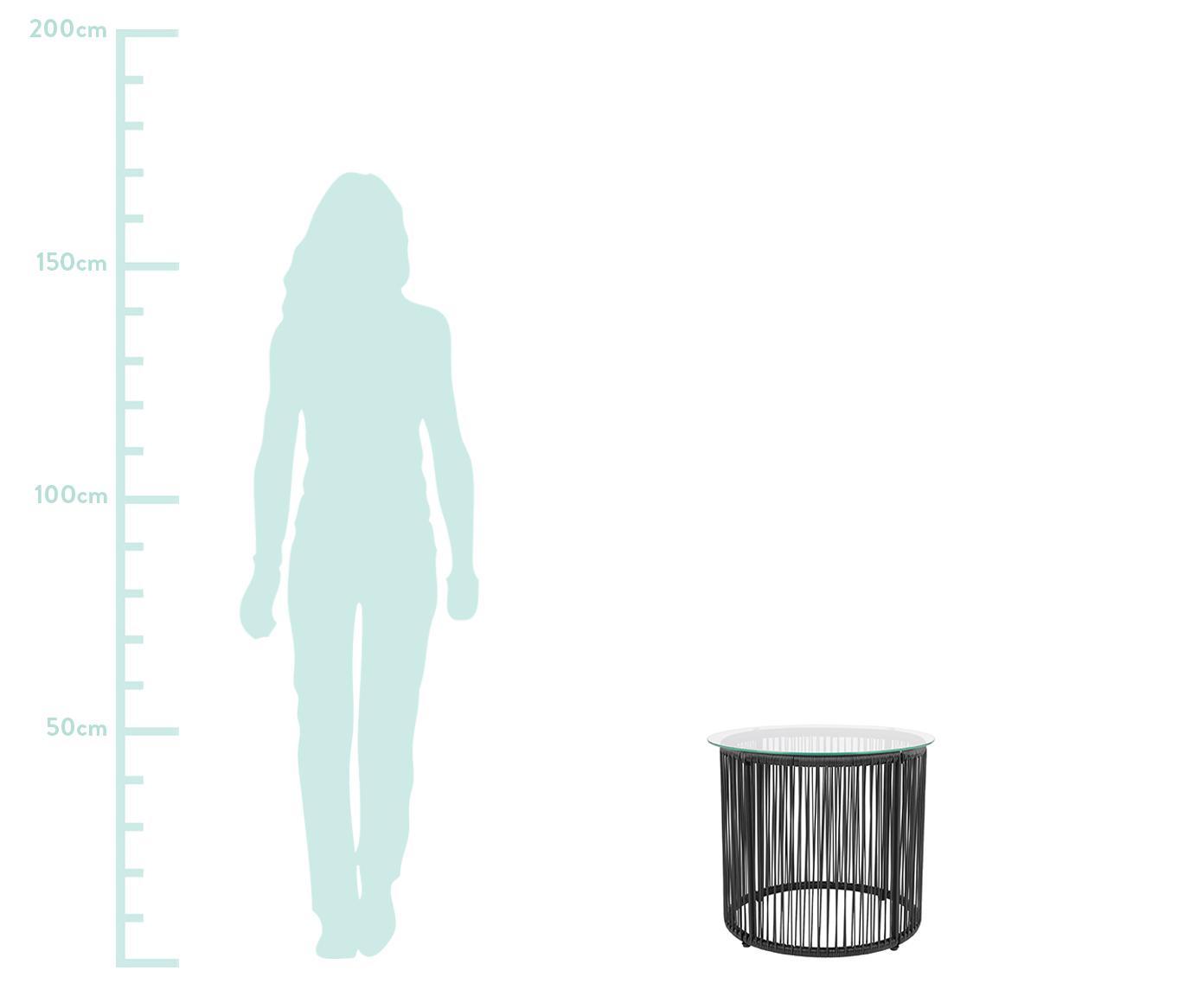 Mesa auxiliar Bahia, tablero de cristal, Tablero: vidrio, espesor 5mm, Estructura: aluminio, pintura en polv, Tablero: transparente Cuerdas y estructura: negro, Ø 50 x Al 45 cm