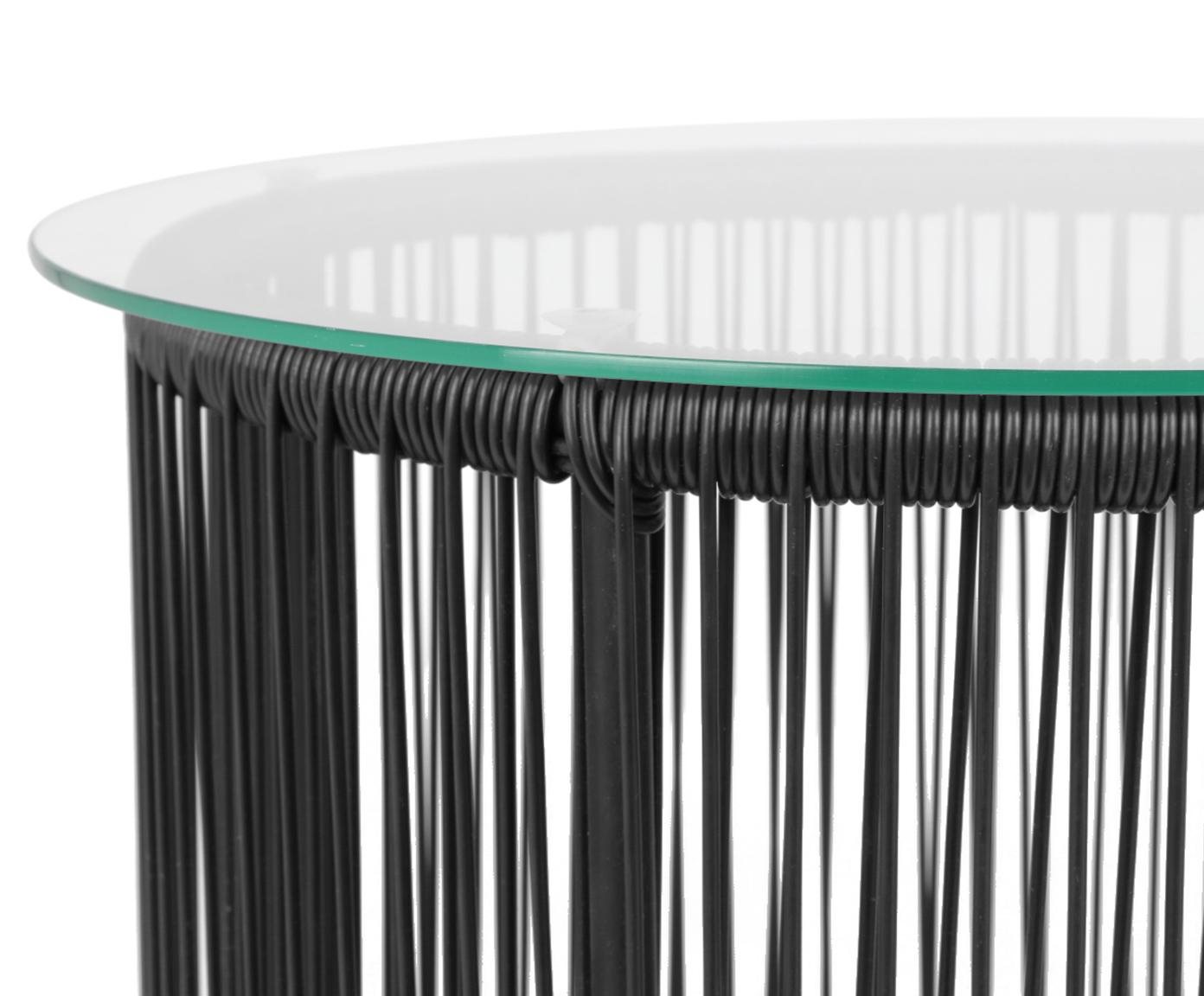 Bijzettafel Bahia met glazen tafelblad, Tafelblad: glas, dikte, Frame: gepoedercoat aluminium, Zwart, Ø 50 x H 45 cm