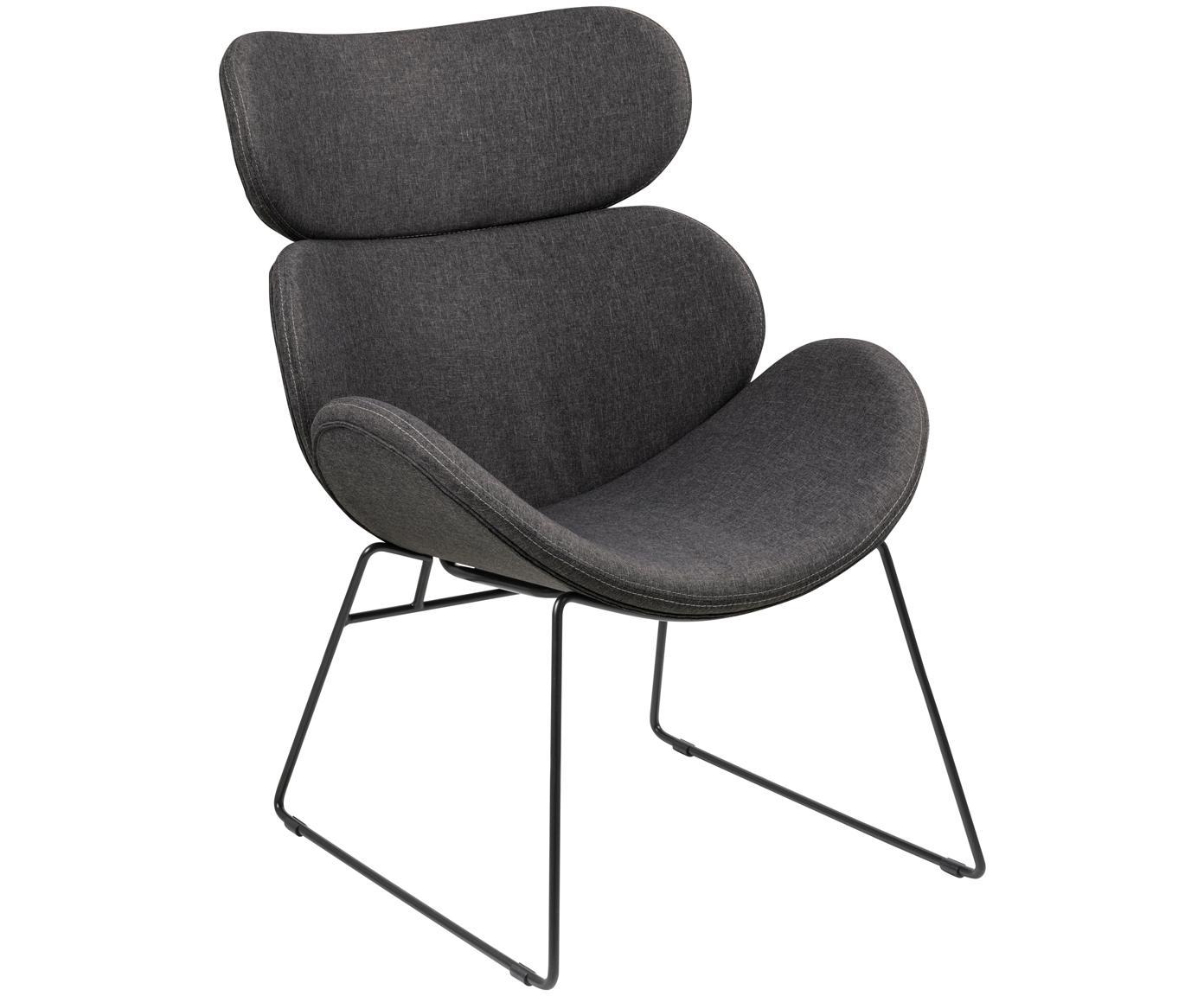 Moderne loungefauteuil Cazar in donkergrijs, Bekleding: polyester, Frame: gepoedercoat metaal, Grijs, zwart, B 69  x D 79 cm