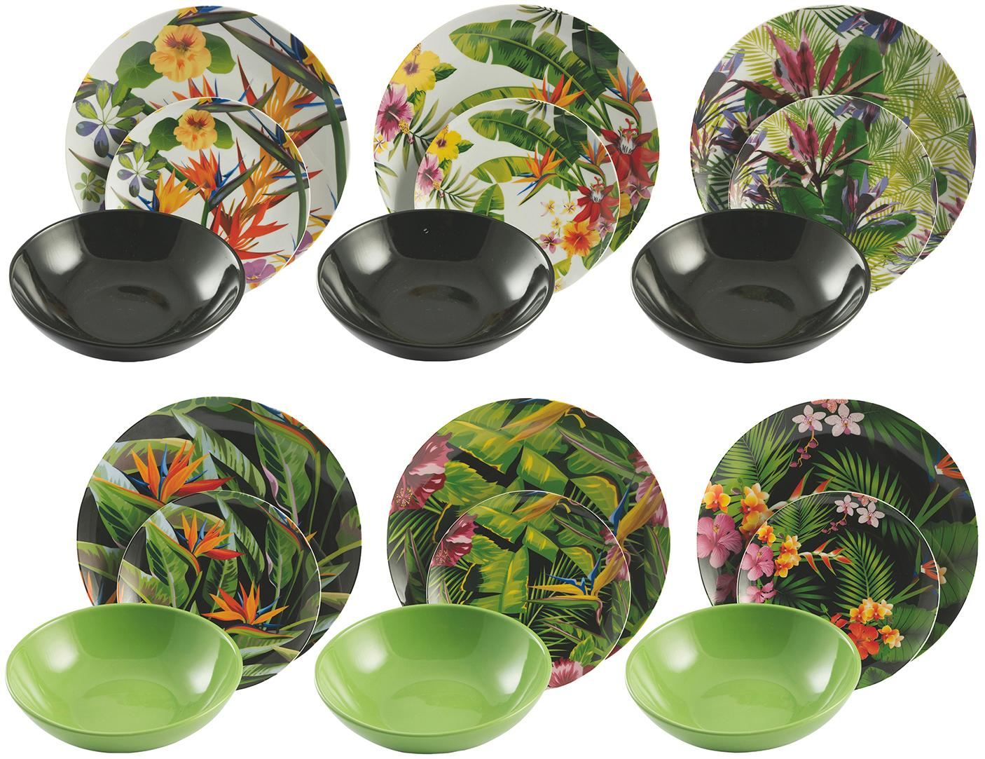 Serviesset Tropical Jungle, 6 personen (18-delig), Porselein, keramiek, Multicolour, Verschillende formaten