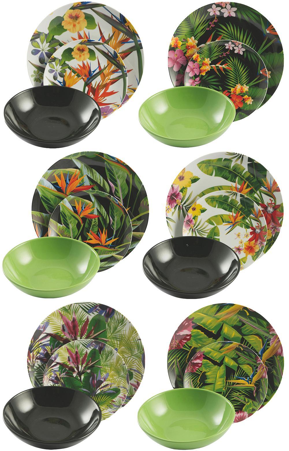 Vajilla Tropical Jungle, 6comensales (18pzas.), Multicolor, Set de diferentes tamaños