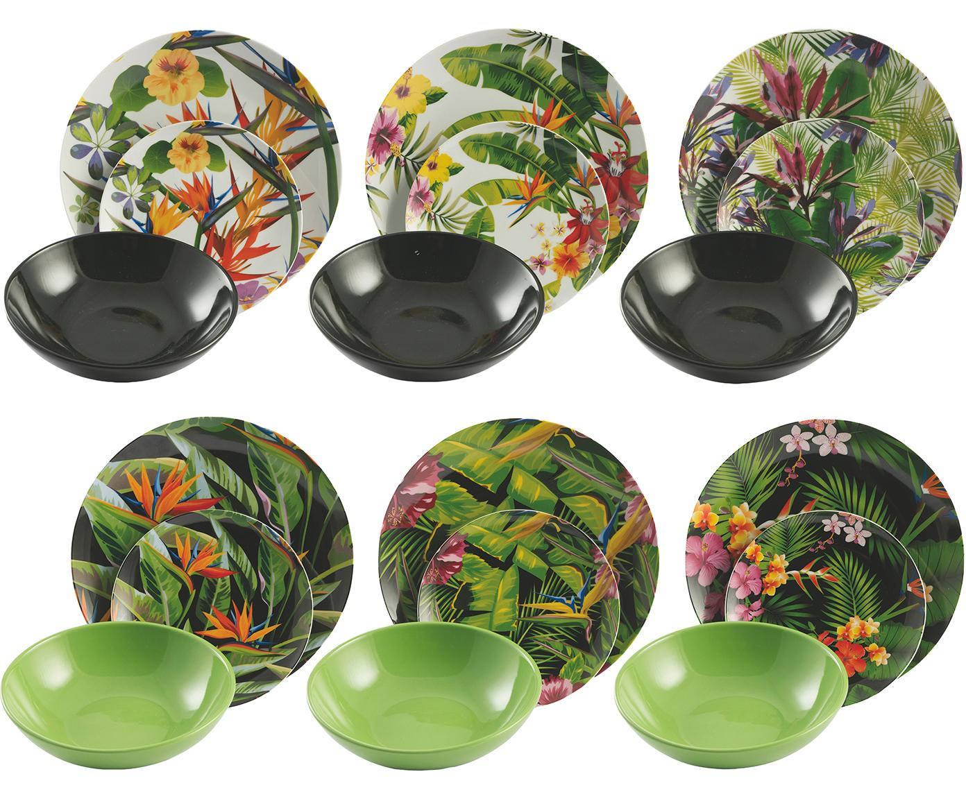 Set 18 piatti per 6 persone Tropical Jungle, Porcellana, terracotta, Multicolore, Diverse dimensioni