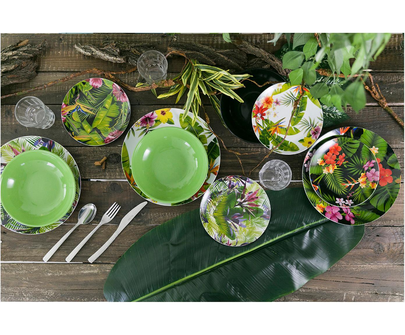 Komplet naczyń z porcelany Jungle, 18 elem., Porcelana, Wielobarwny, Różne rozmiary