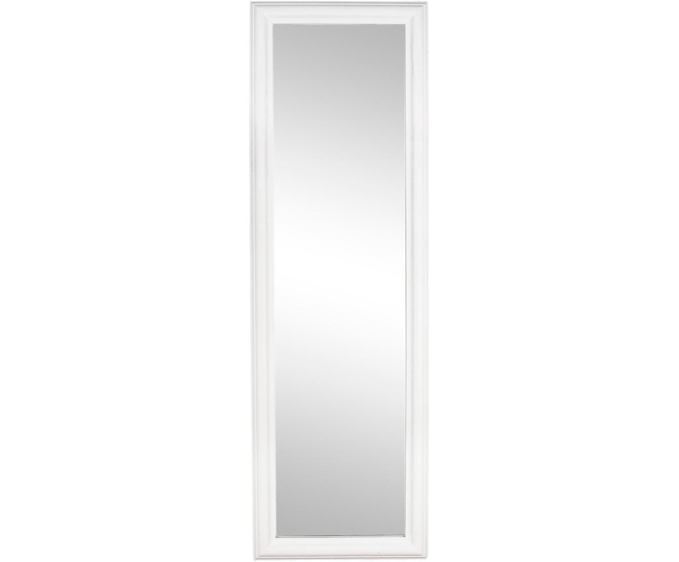 Espejo de pared Sanzio, con marco de madera, Espejo: cristal, Blanco, An 42 x Al 132 cm