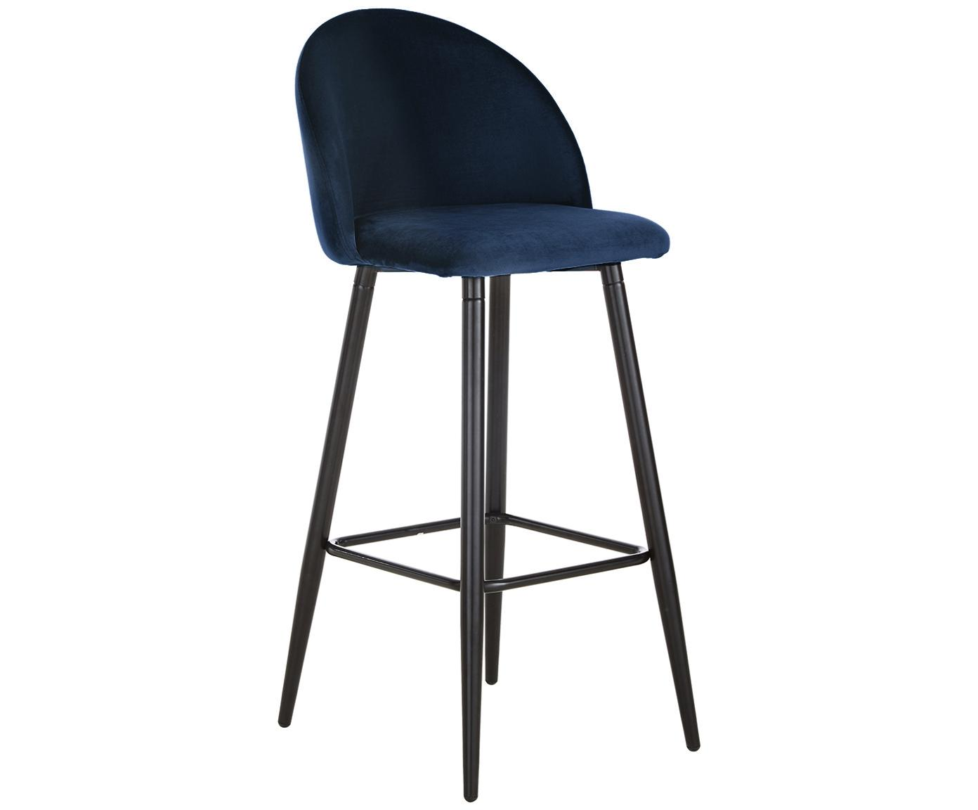 Sedia da bar in velluto blu scuro Amy, Rivestimento: velluto (poliestere) 20.0, Gambe: metallo verniciato a polv, Velluto blu scuro, Larg. 45 x Alt. 103 cm