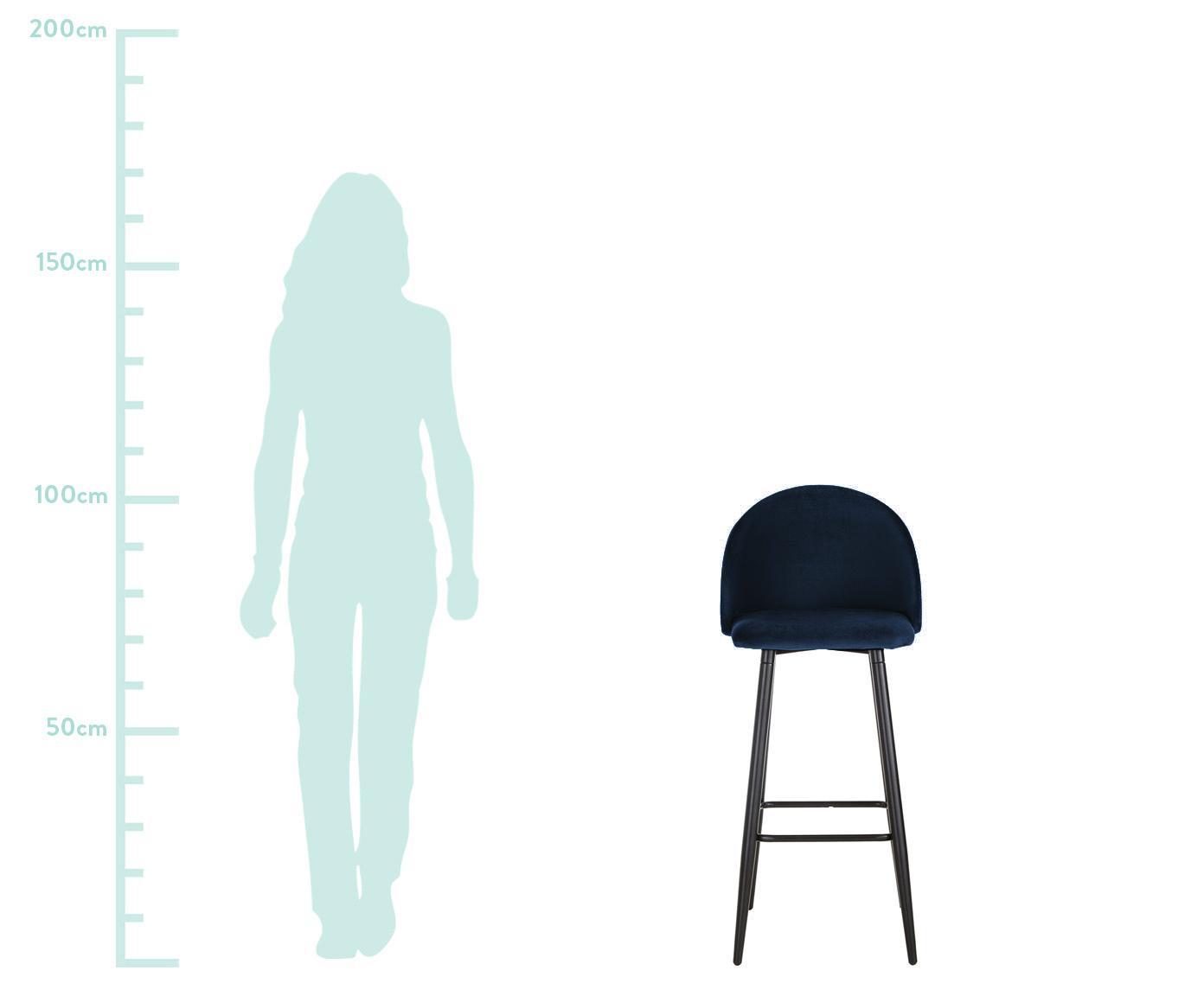 Samt-Barstuhl Amy in Dunkelblau, Bezug: Samt (Polyester) 20.000 S, Beine: Metall, pulverbeschichtet, Samt Dunkelblau, 45 x 103 cm