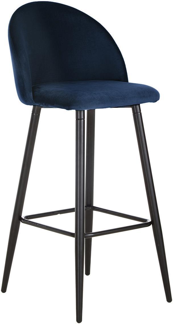 Krzesło barowe z aksamitu Amy, Tapicerka: aksamit (poliester) 2000, Nogi: metal malowany proszkowo, Ciemny niebieski, S 45 x W 103 cm