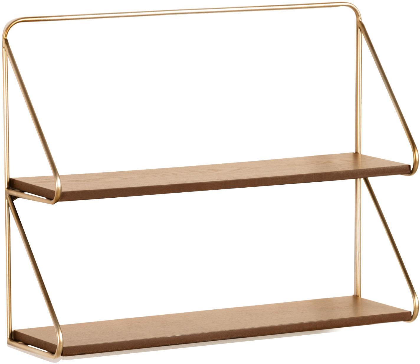 Klein wandrek Catrina, Frame: gelakt metaal, Bruin, goudkleurig, 51 x 42 cm