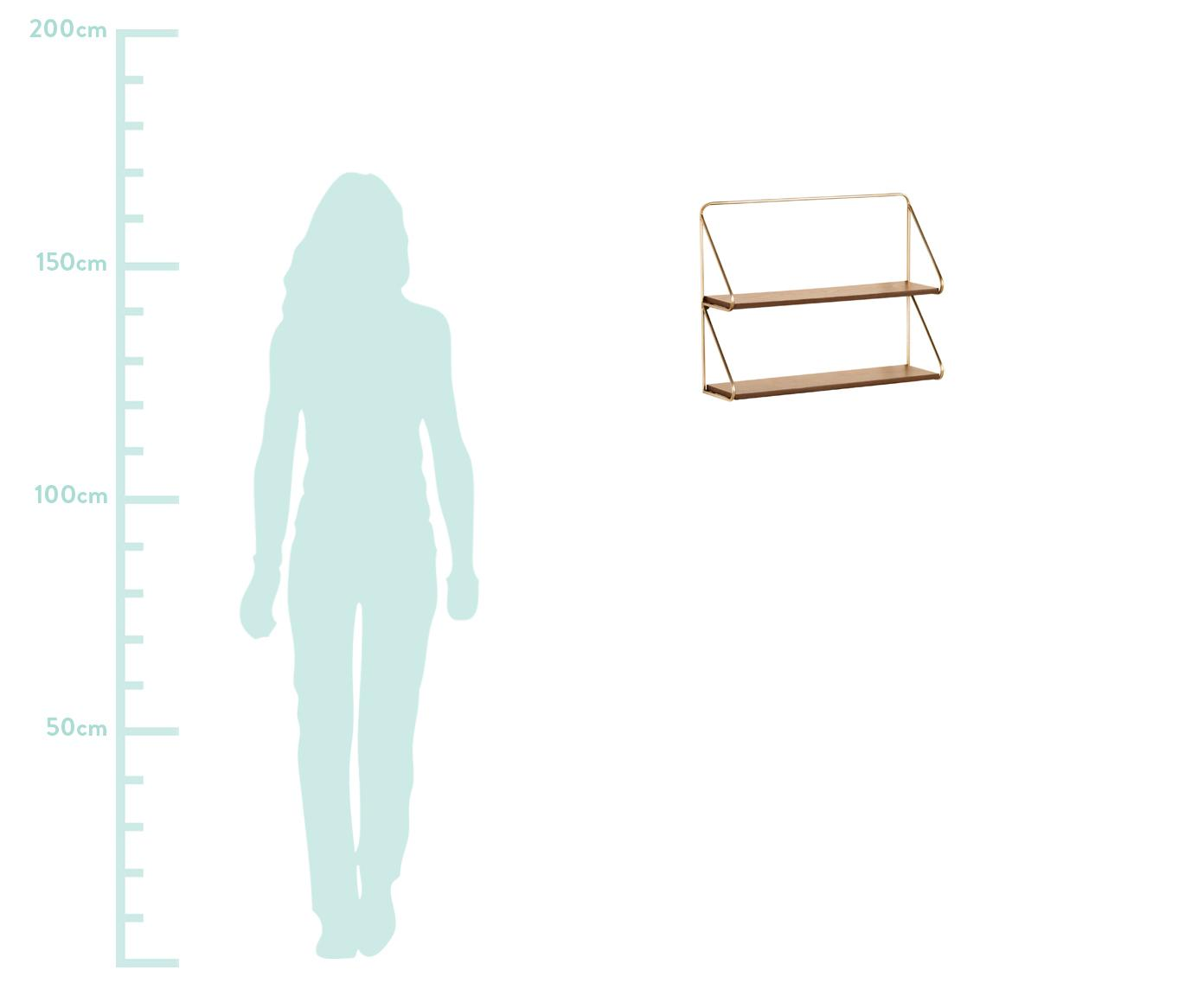 Kleines Wandregal Catrina, Gestell: Metall, lackiert, Braun, Goldfarben, 51 x 42 cm