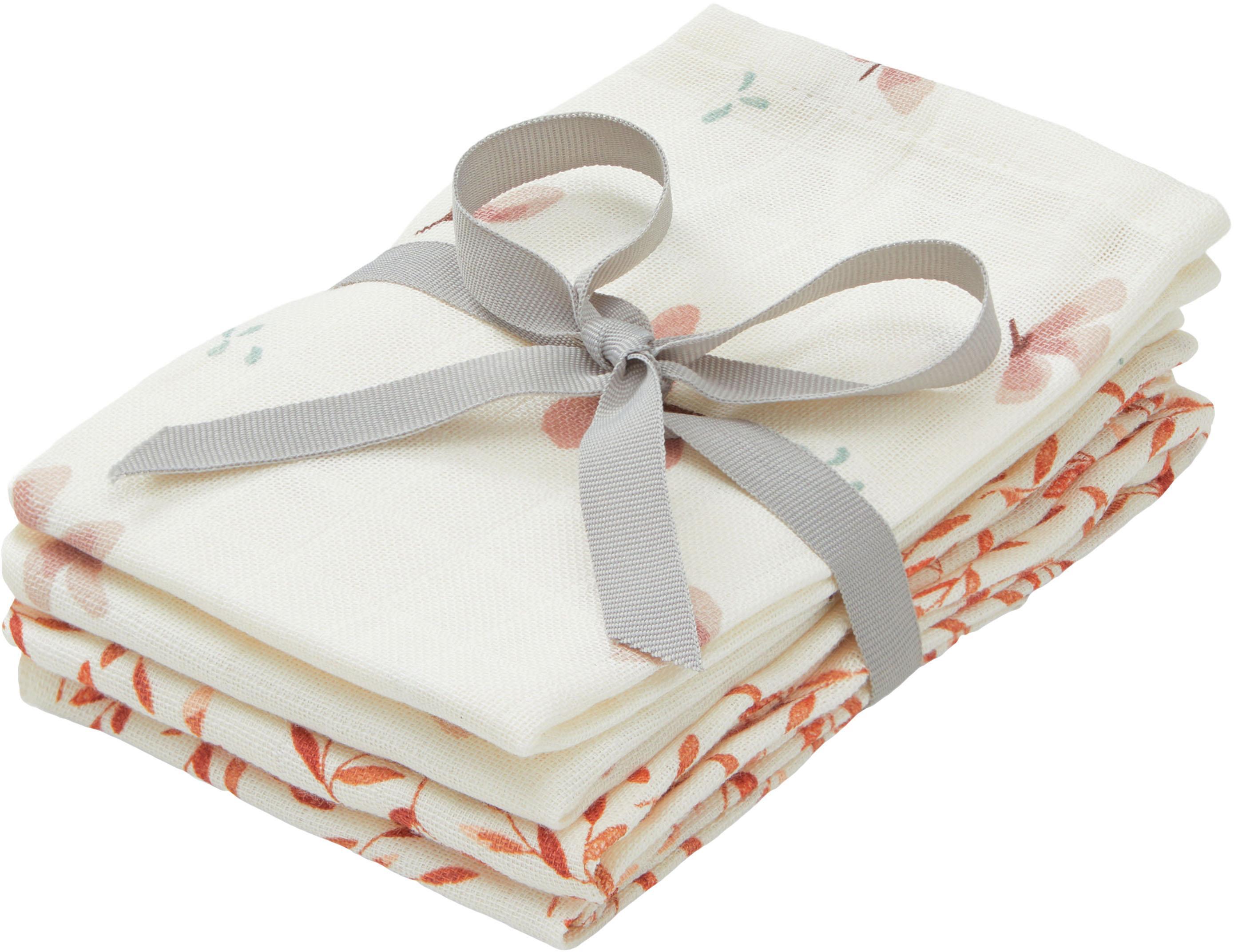 Set de toallitas de tela de algodón ecológico Wildflower, 4pzas., 100%algodón ecológico, certificado GOTS, Crema, rosa, naranja, An 30 x L 30 cm