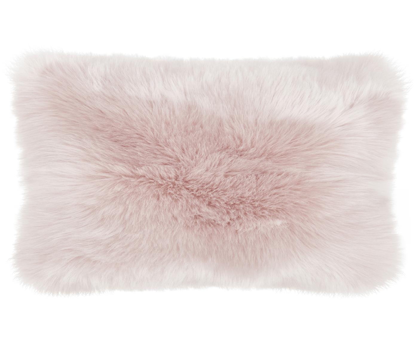 Poszewka na poduszkę ze sztucznego futra Mathilde, gładka, Blady różowy, S 30 x D 50 cm