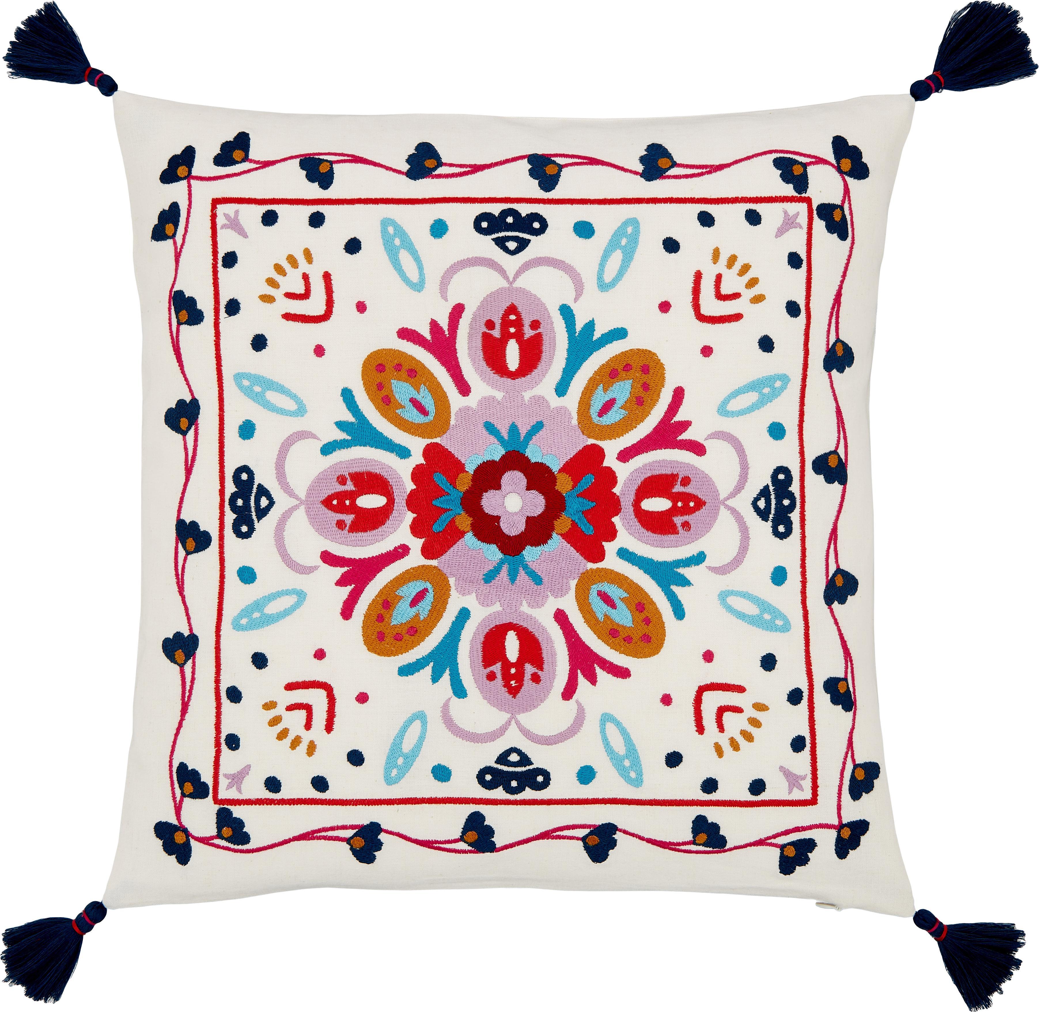 Kleurrijk geborduurde kussenhoes Flower Power, 100% katoen, Crèmewit, multicolour, 45 x 45 cm