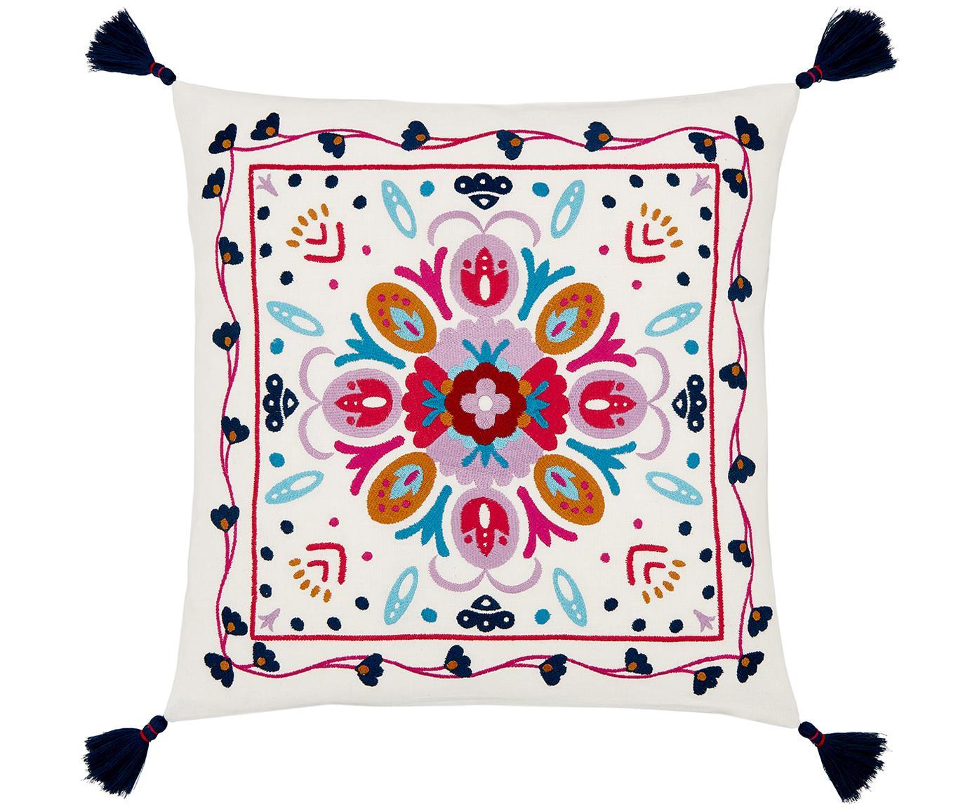 Bunt bestickte Kissenhülle Flower Power, 100% Baumwolle, Cremeweiss, Mehrfarbig, 45 x 45 cm