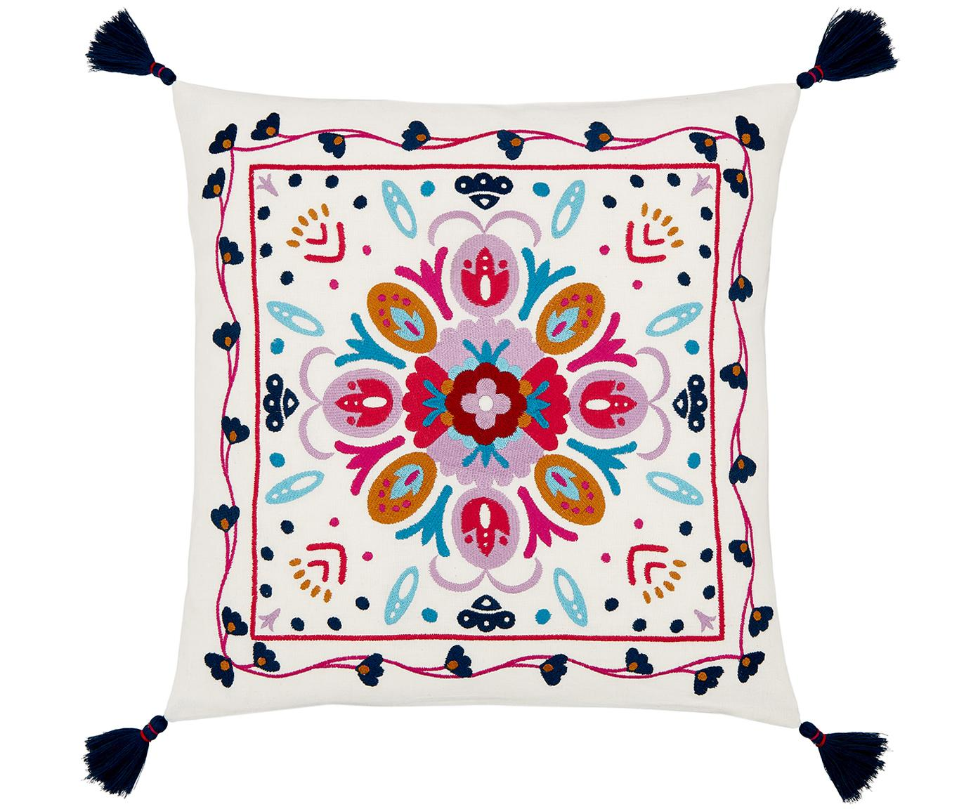 Funda de cojín bordada Flower Power, Algodón, Blanco crema, multicolor, An 45 x L 45 cm