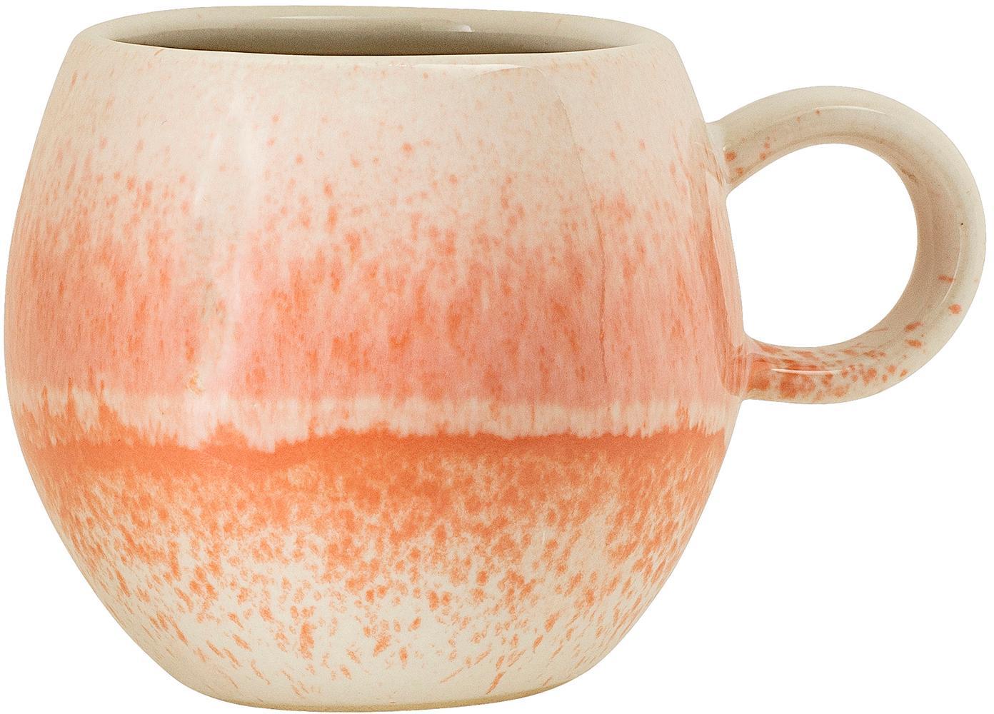 Taza artesanal Paula, Gres, Naranja, crema, Ø 9 x Al 8 cm