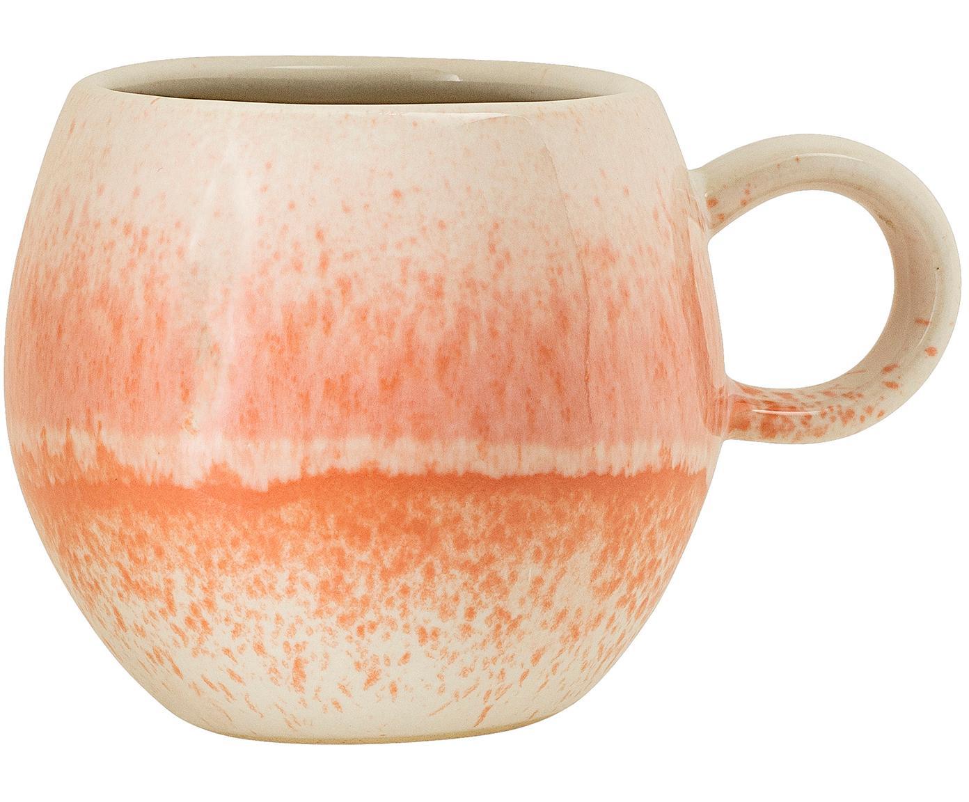 Mok Paula, Keramiek, Oranje, crèmekleurig, Ø 9 x H 8 cm