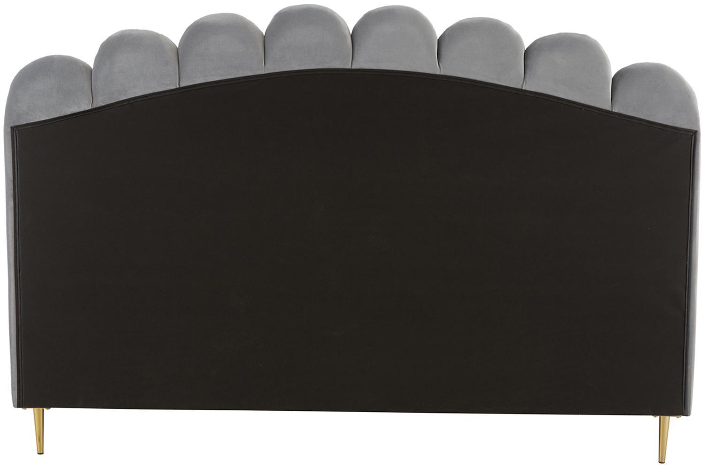 Samt-Polsterbett Glamour, Korpus: Massives Kiefernholz, Füße: Metall, vermessingt, Bezug: Samt (Polyester) 100.000 , Bezug: GrauFüsse: Goldfarben, glänzend, 160 x 200 cm