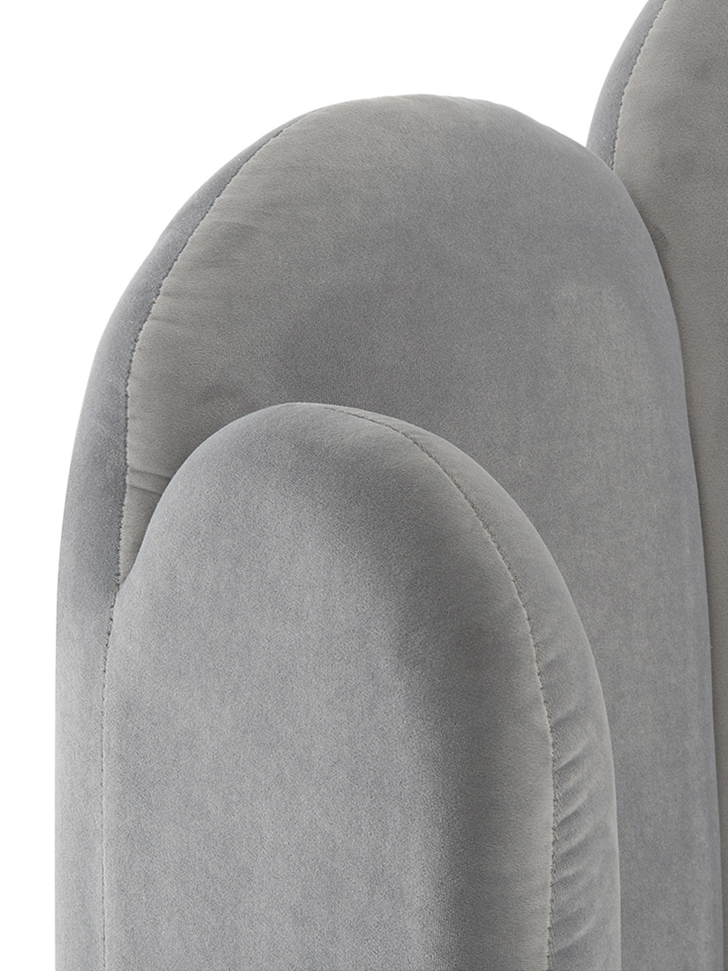 Letto matrimoniale imbottito in velluto Glamour, Piedini: metallo ottonato, Rivestimento: velluto (poliestere) 100., Rivestimento: grigio Piedini: dorato lucido, 160 x 200 cm